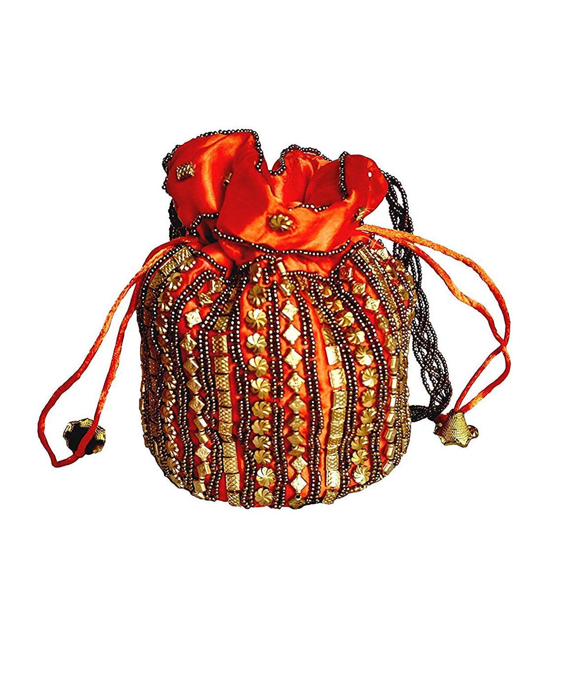 DN Enterprises Womens traditional designer beads embroidery party wear potli(orange)