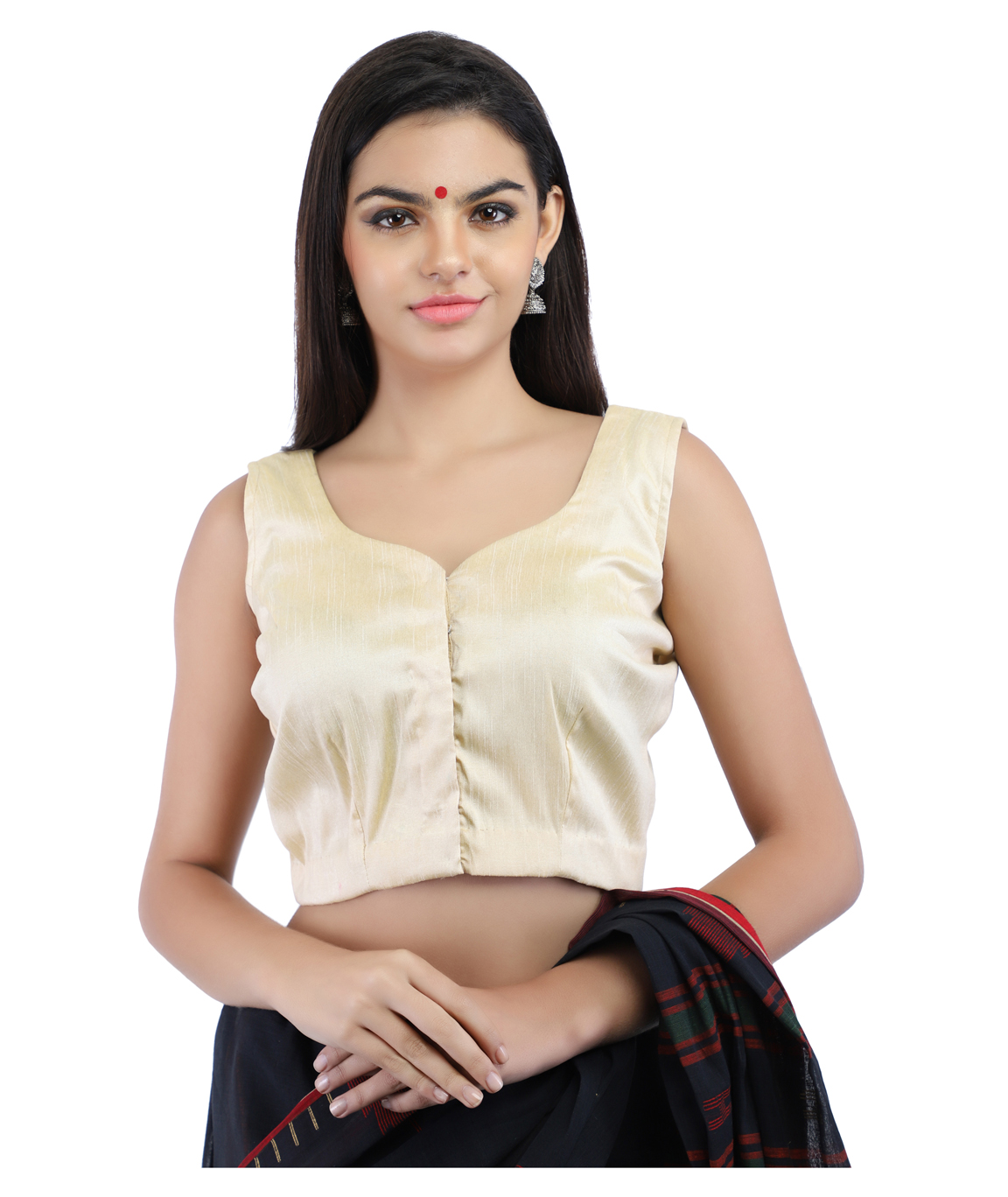 Dupion Silk Non-Padded Blouse in Beige With hook Closure on Front (CLOUR : LIGHT BEIGE)