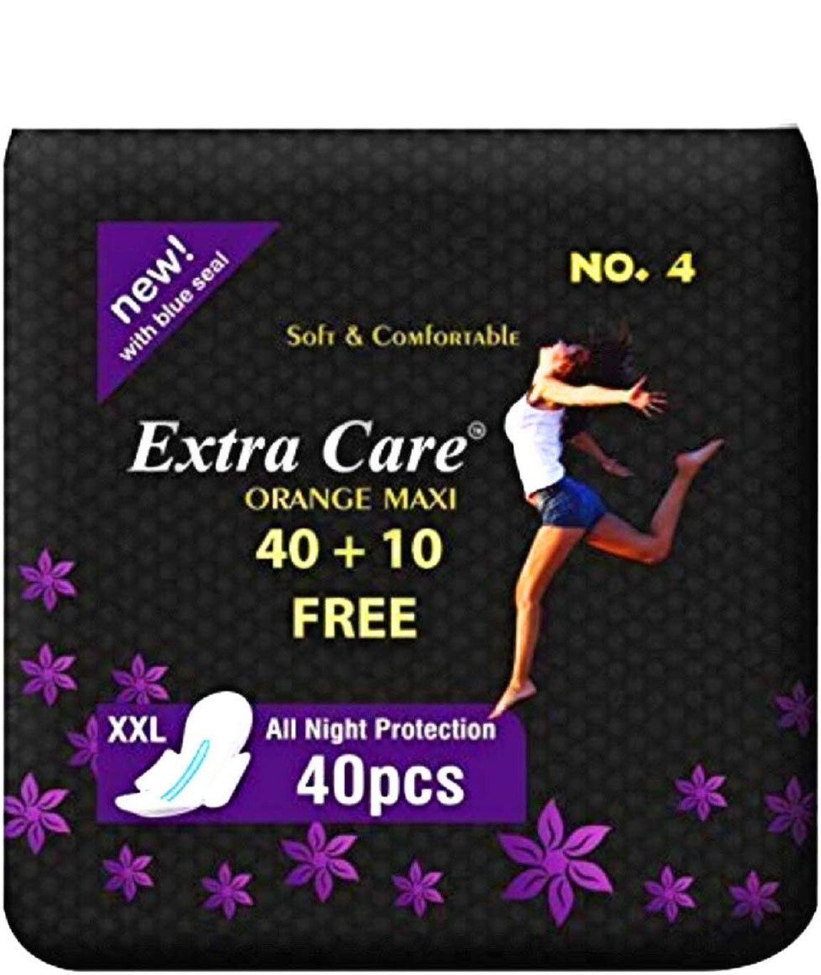 Extra Care Sanitary Napkin with Ultra Thin Cellulase Fiber and Soft Count 40 with 10 Small Pads