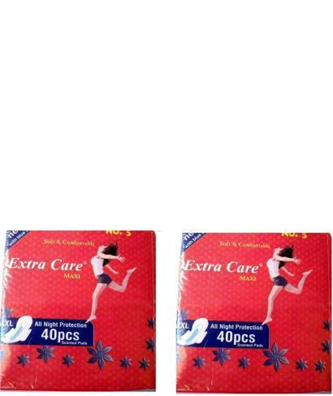 Extra Care Womens/Girls XXL Sanitary Pads (Napkins) with Wings- Pack of 40 Sanitary Pad