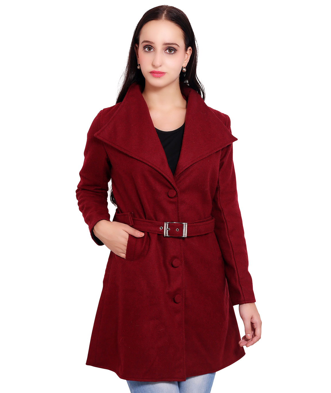 FAZZN Long Woolen Coats(Maroon)