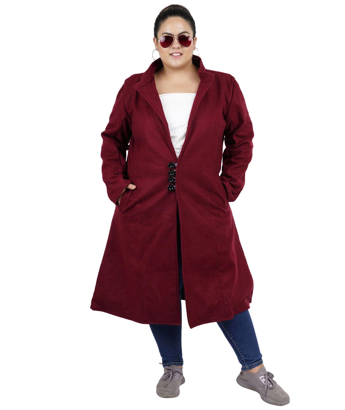 FAZZN Long Woolen Coats (Maroon)