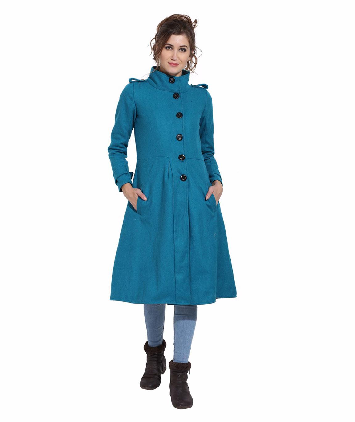 FAZZN Long Woolen Coats(Turquoise)