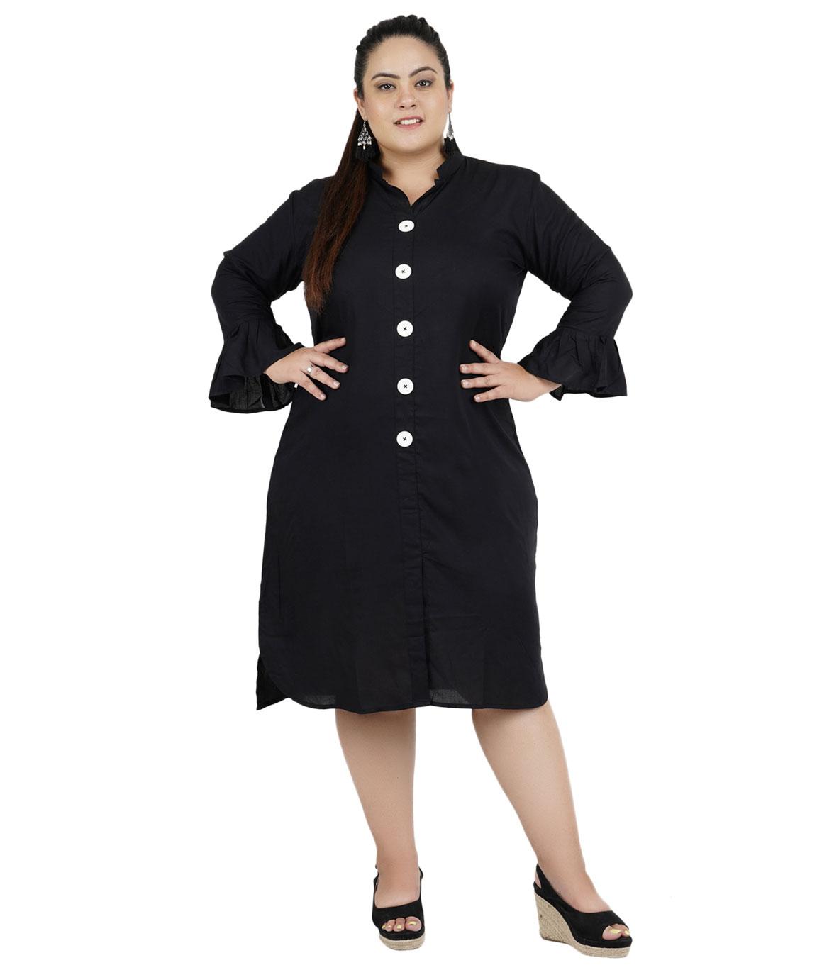 FAZZN Rayon Dresses For Women`s(Black)
