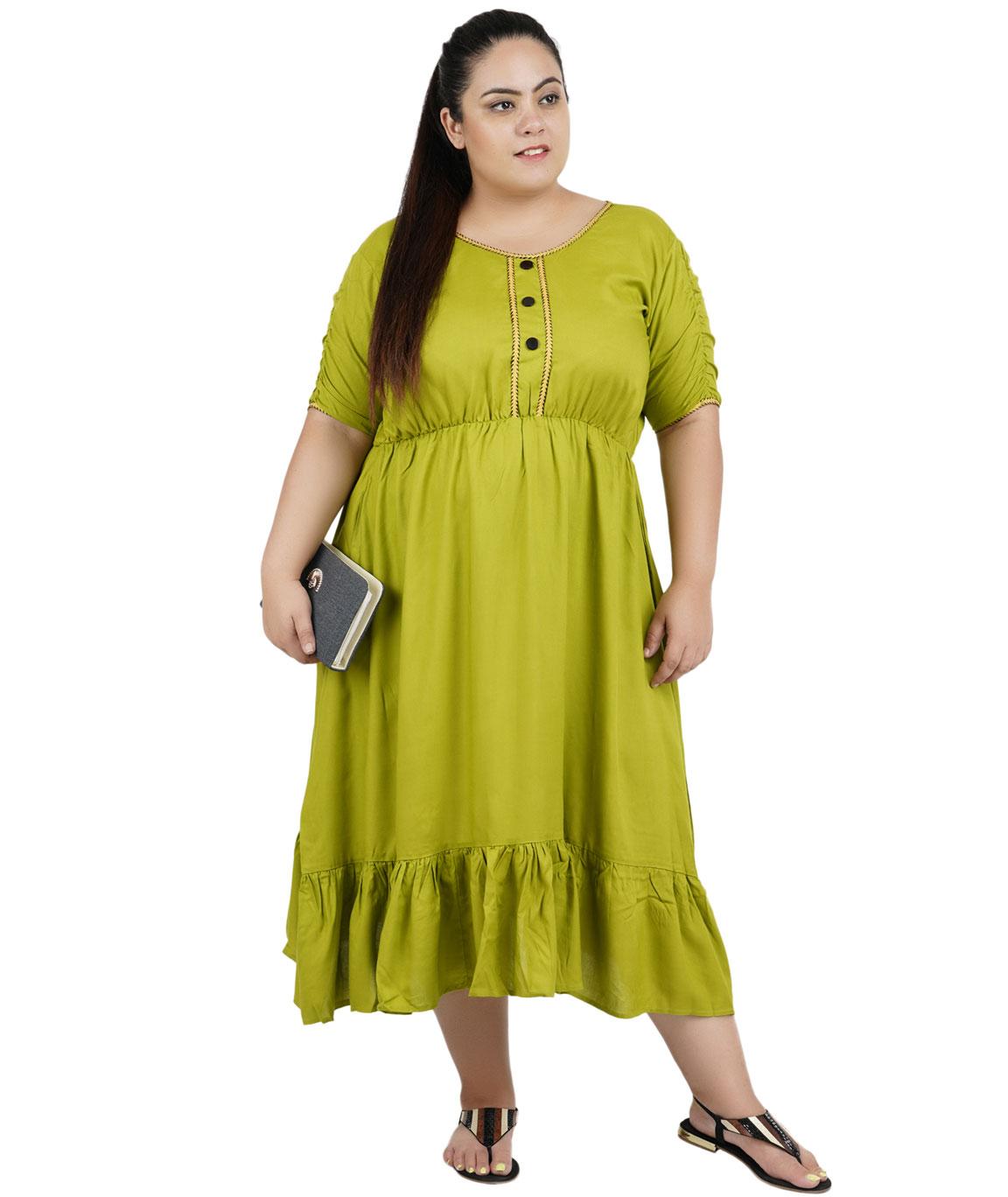FAZZN Rayon Dresses For Women`s(Green)