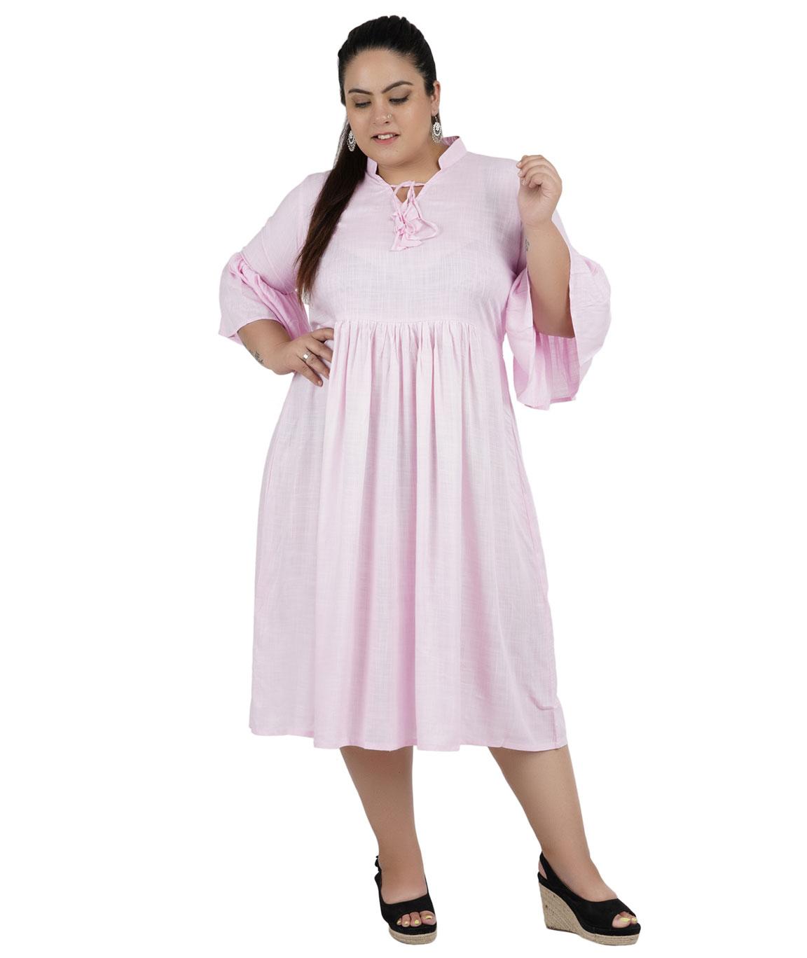 FAZZN Rayon Dresses For Women`s(Pink)