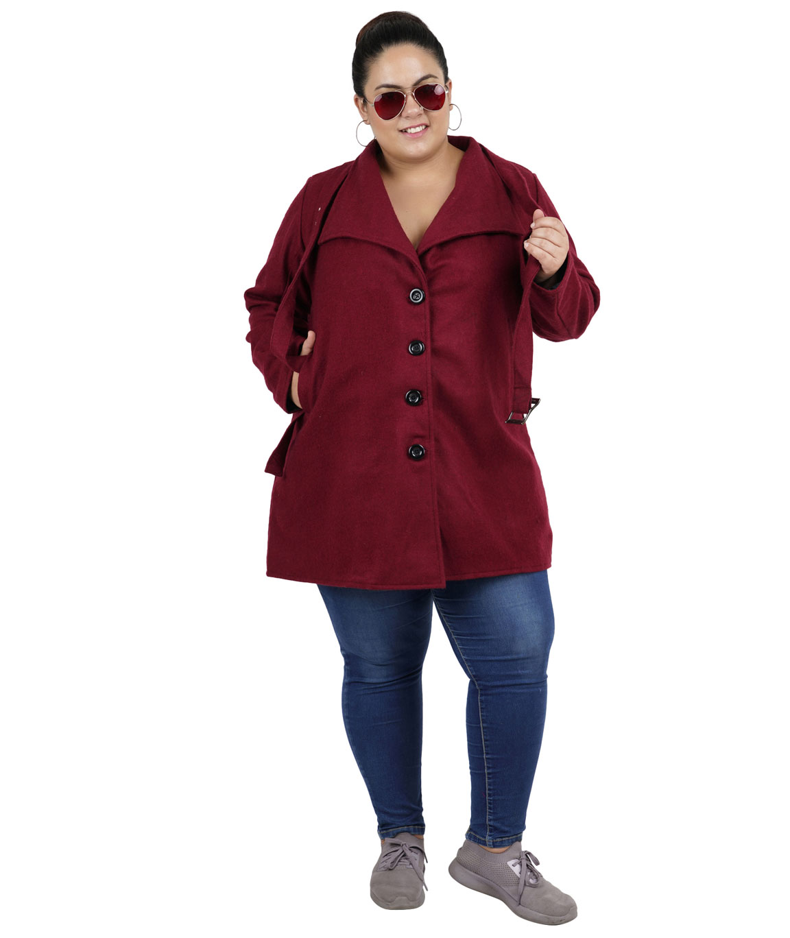 FAZZN Short Woolen Coats(Maroon)