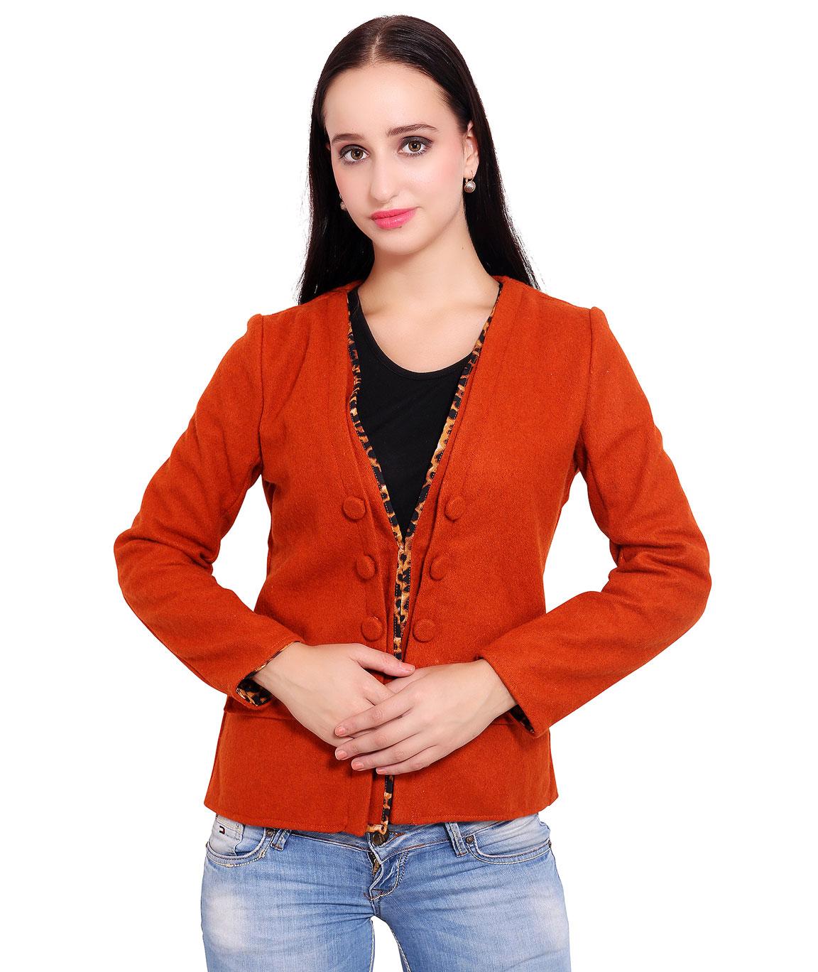 FAZZN Short Woolen Coats(Orange)