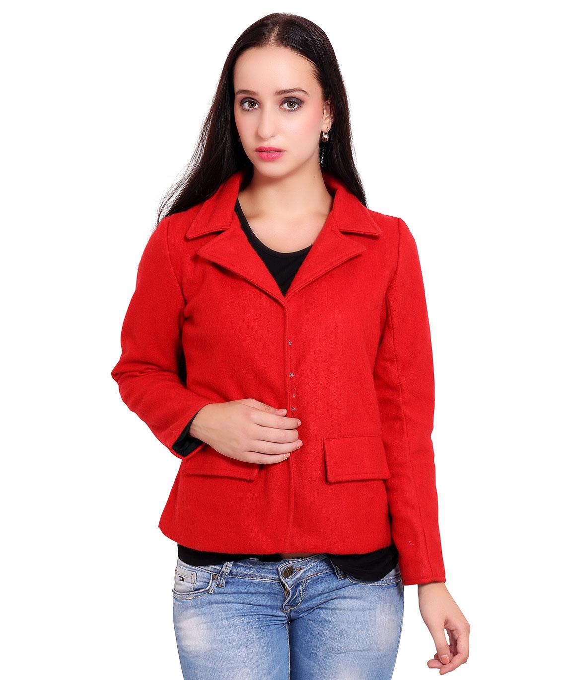 FAZZN Short Woolen Coats(Red)