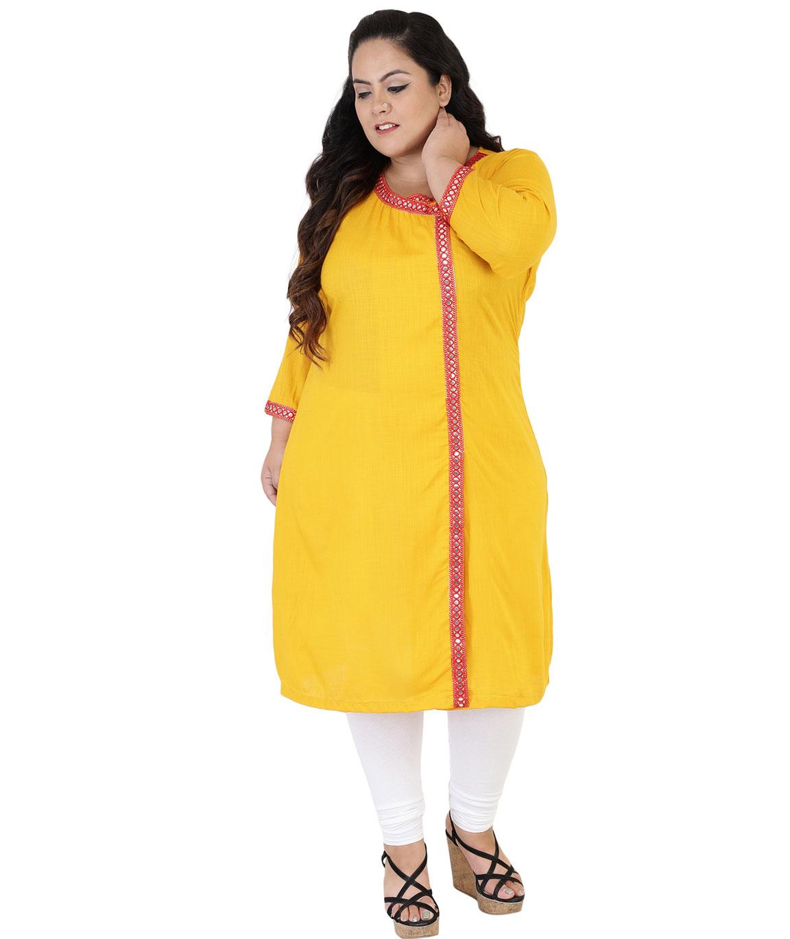 Fazzn Women`s Rayon Angrakha Kurti (Yellow)