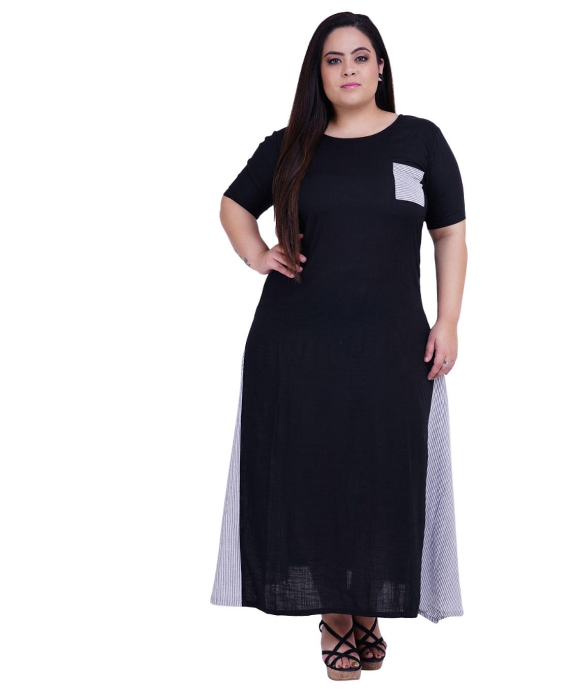 Fazzn Women`s Rayon Long Maxi Kurti (Black)