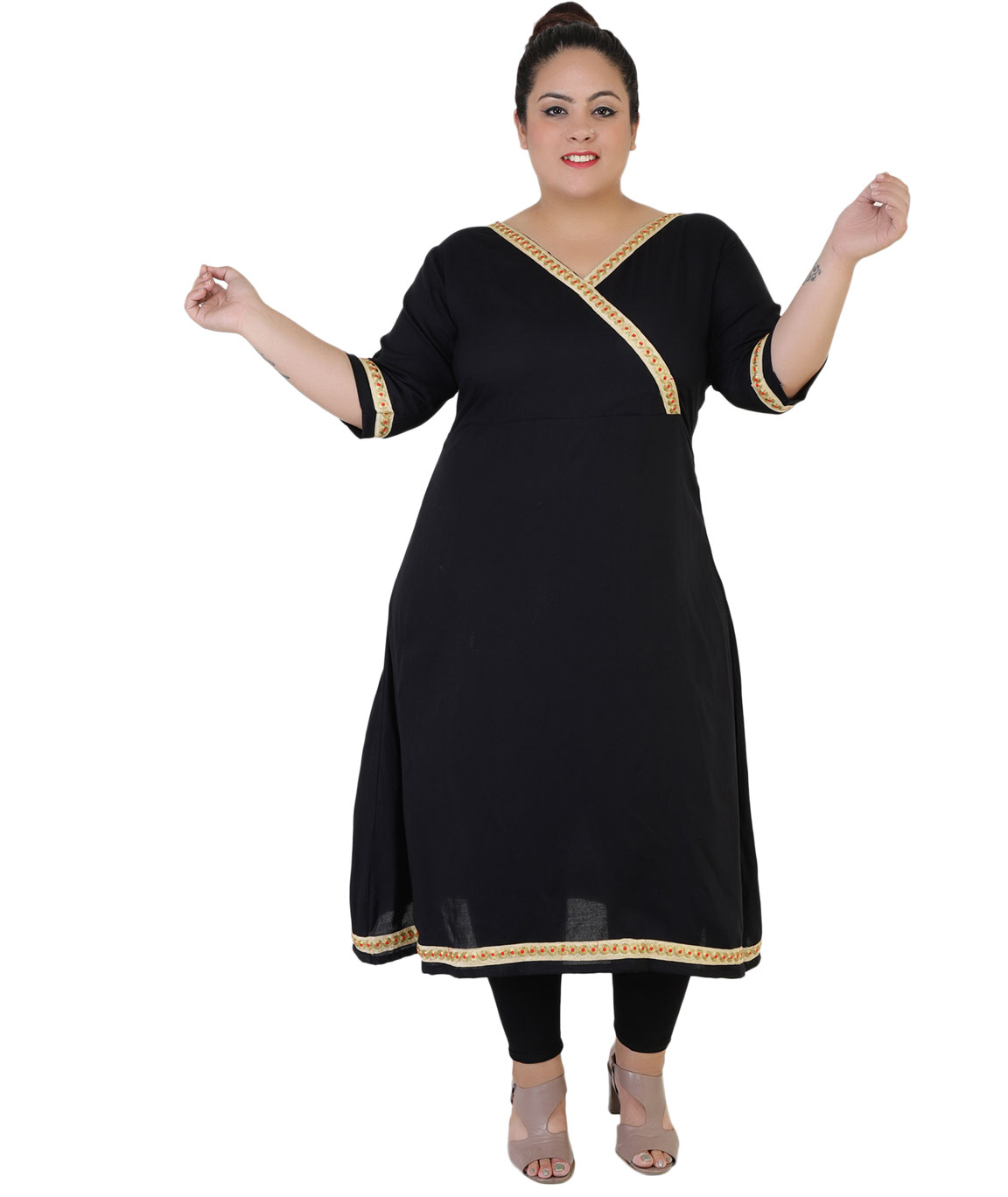 Fazzn Women`s Rayon Straight Kurti (Black)