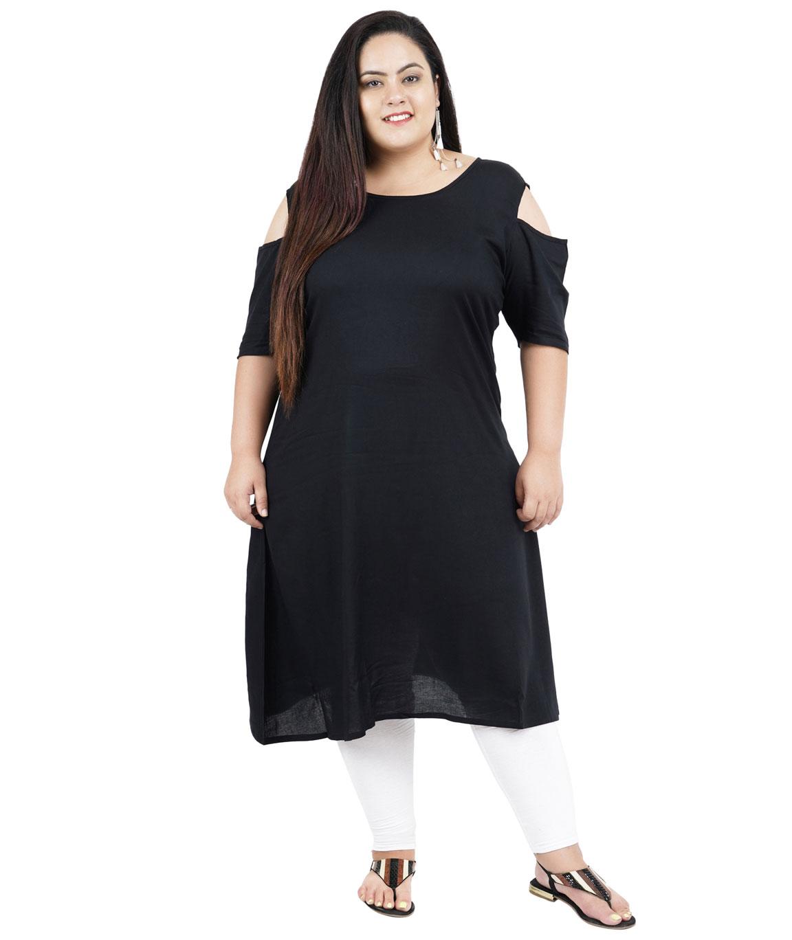 Fazzn Women`s Rayon Straight Kurti(Black)