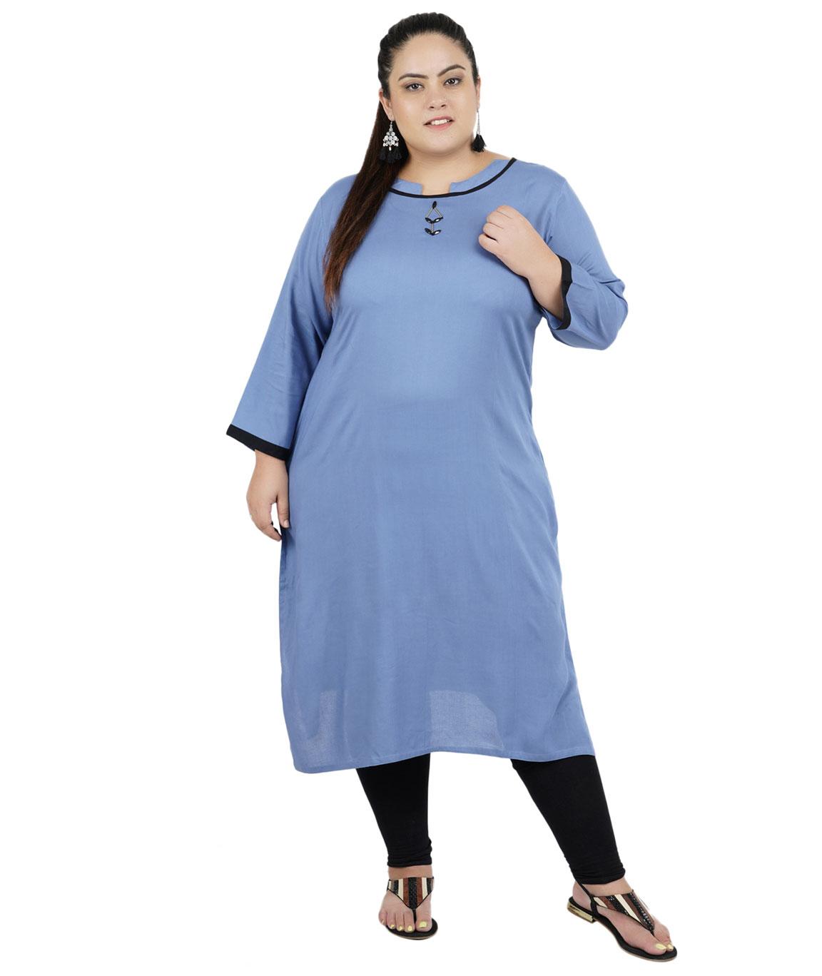 Fazzn Women`s Rayon Straight Kurti (Blue)