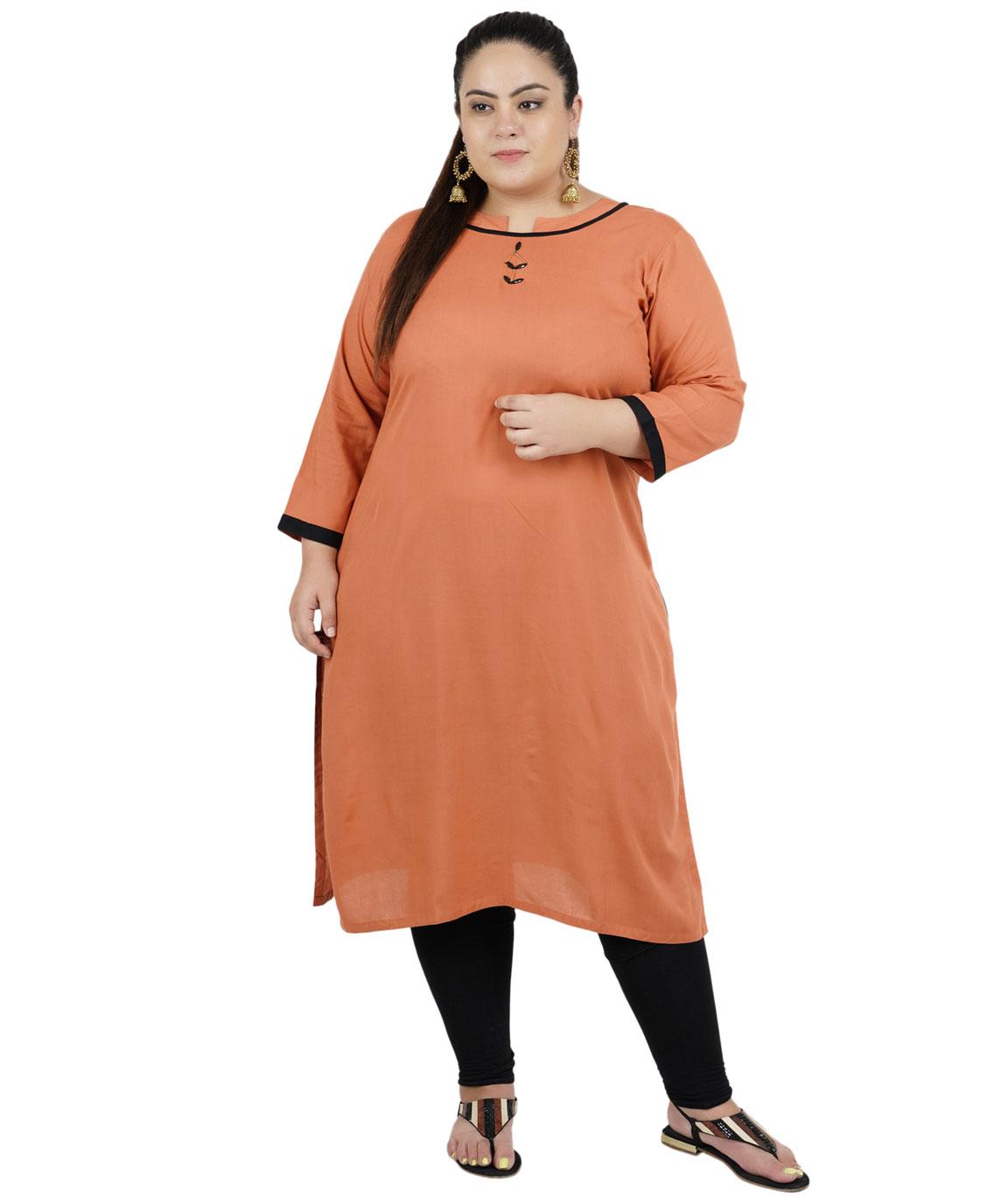 Fazzn Women`s Rayon Straight Kurti (Brown)