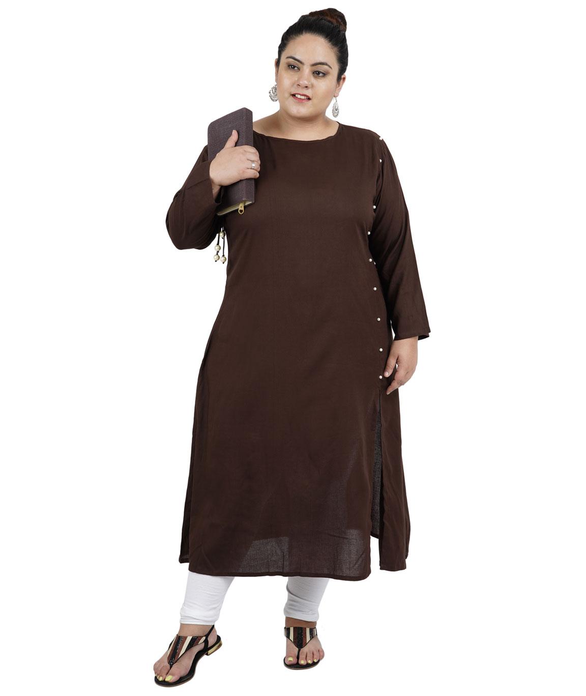 Fazzn Women`s Rayon Straight Kurti(Brown)