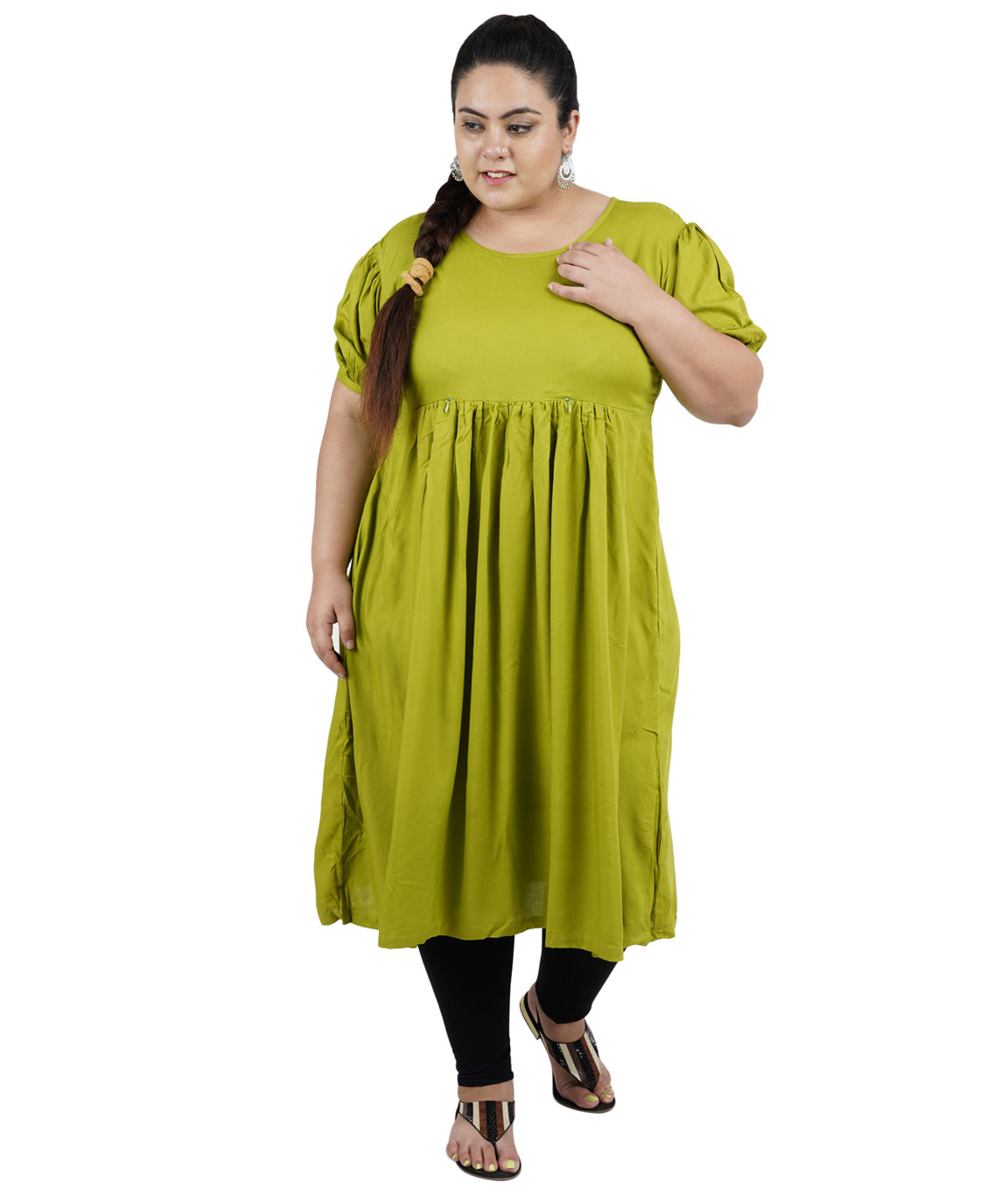 Fazzn Women`s Rayon Straight Kurti (Green)