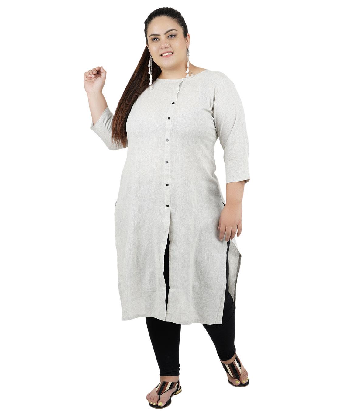 Fazzn Women`s Rayon Straight Kurti (Grey)