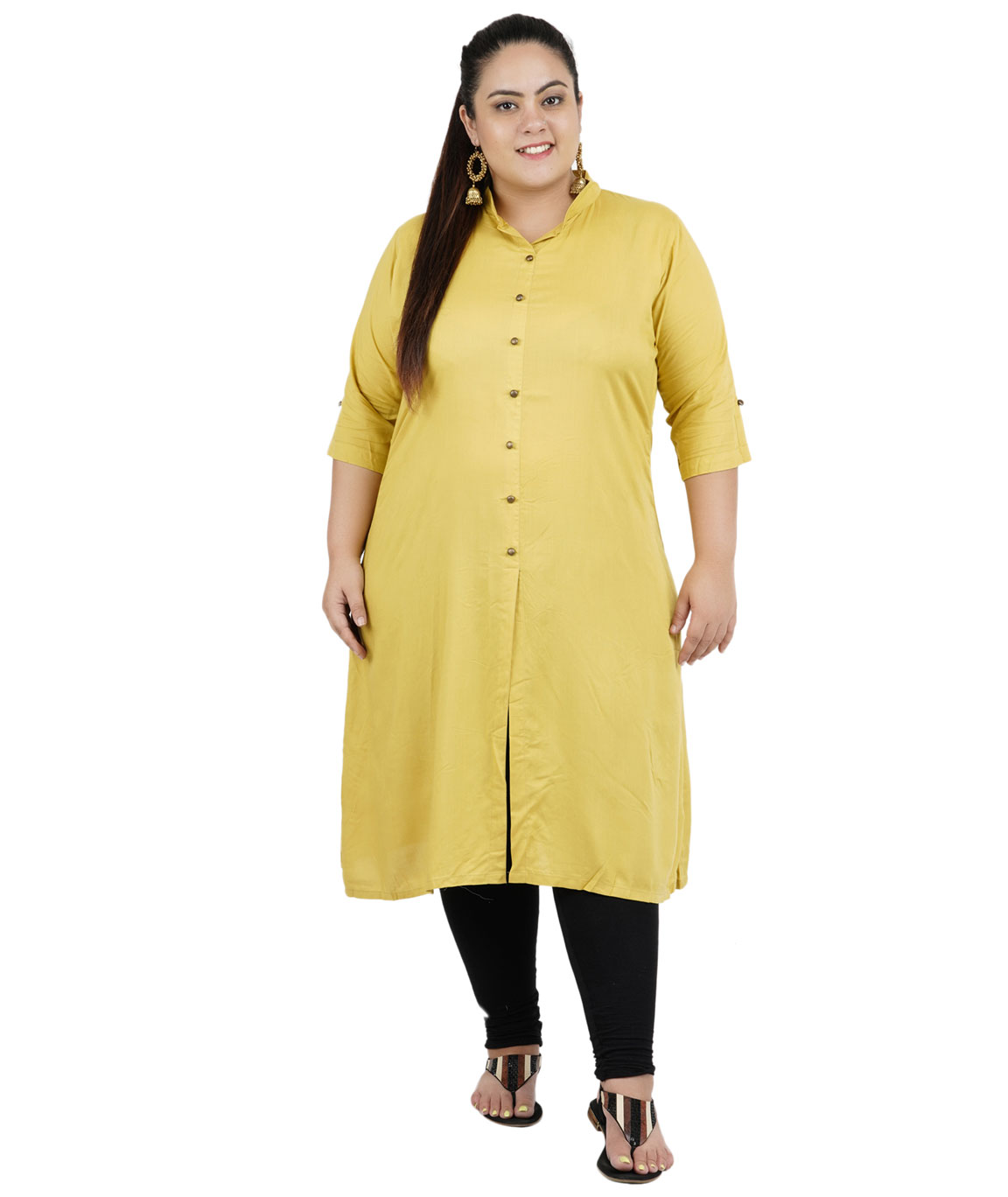 Fazzn Women`s Rayon Straight Kurti (Khaki)