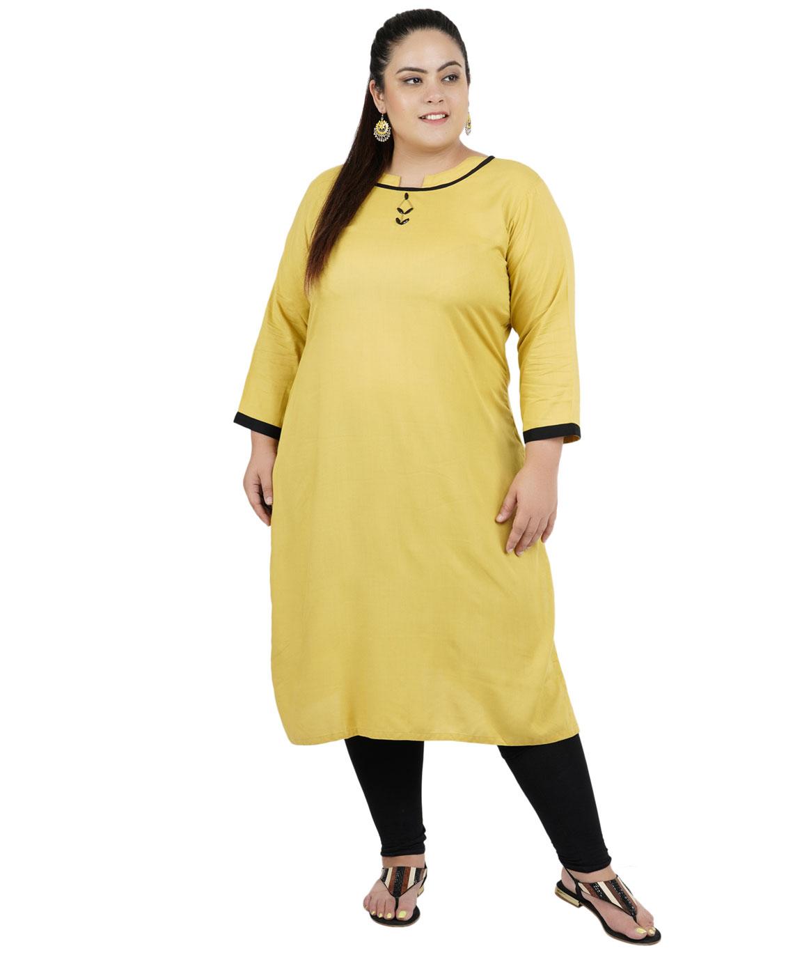 Fazzn Women`s Rayon Straight Kurti (Mustard)