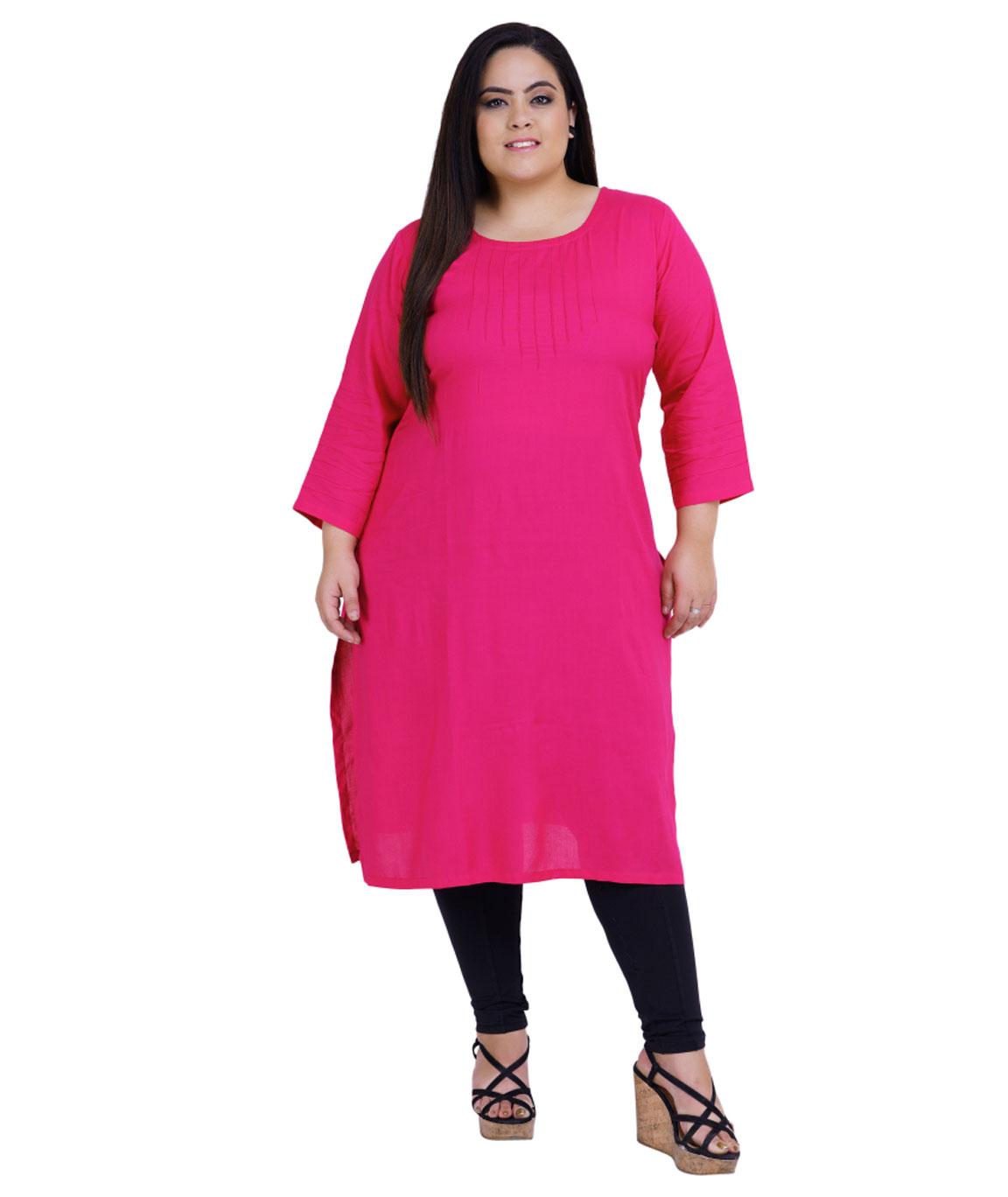 Fazzn Women`s Rayon Straight Kurti (Pink)