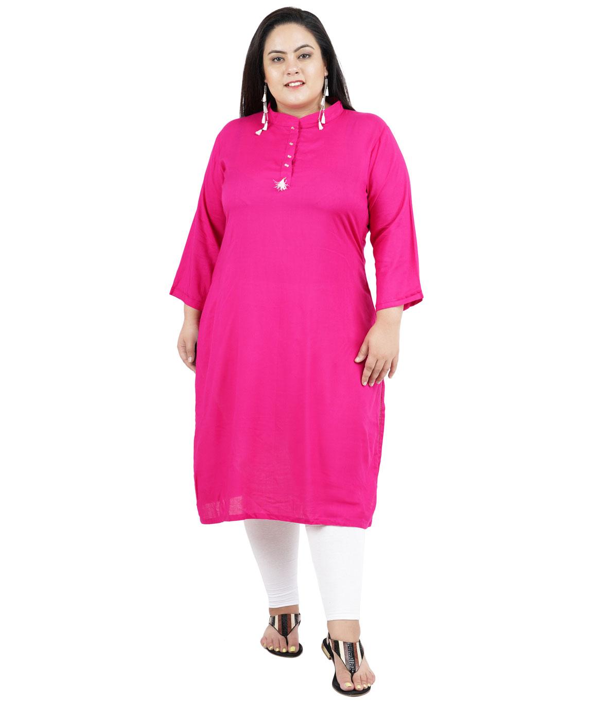 Fazzn Women`s Rayon Straight Kurti(Pink)
