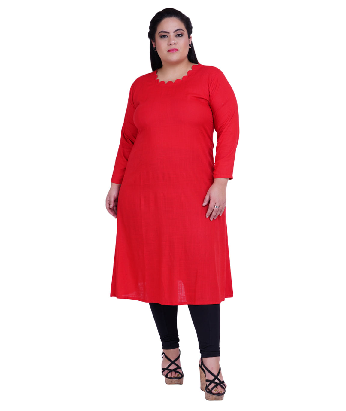 Fazzn Women`s Rayon Straight Kurti (Red)
