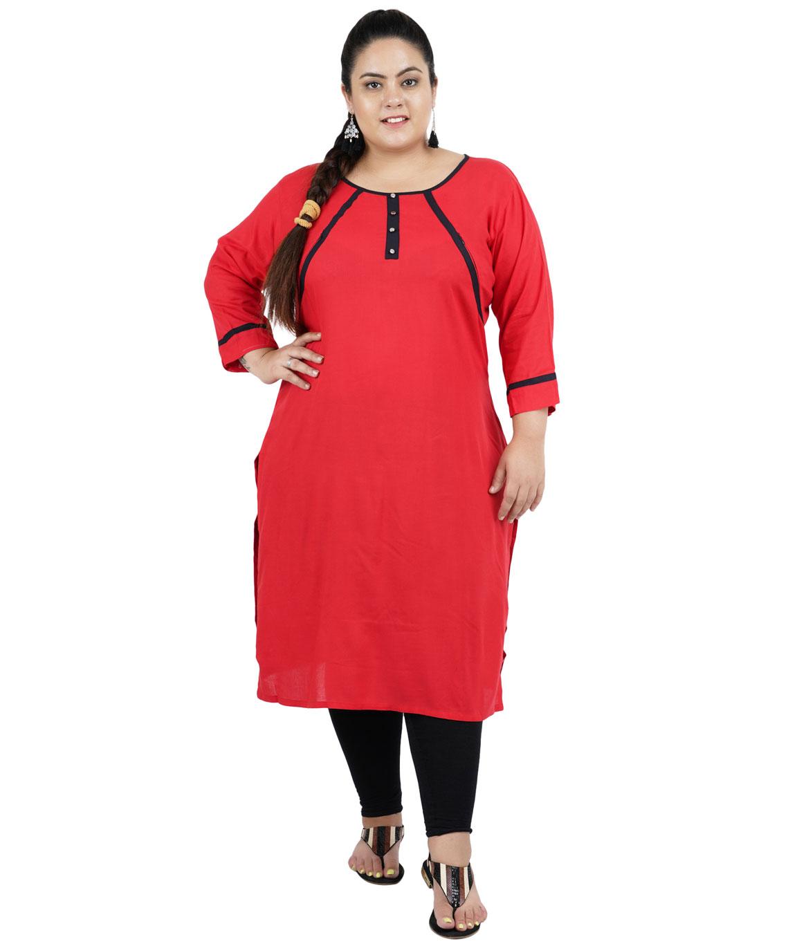 Fazzn Women`s Rayon Straight Kurti(Red)