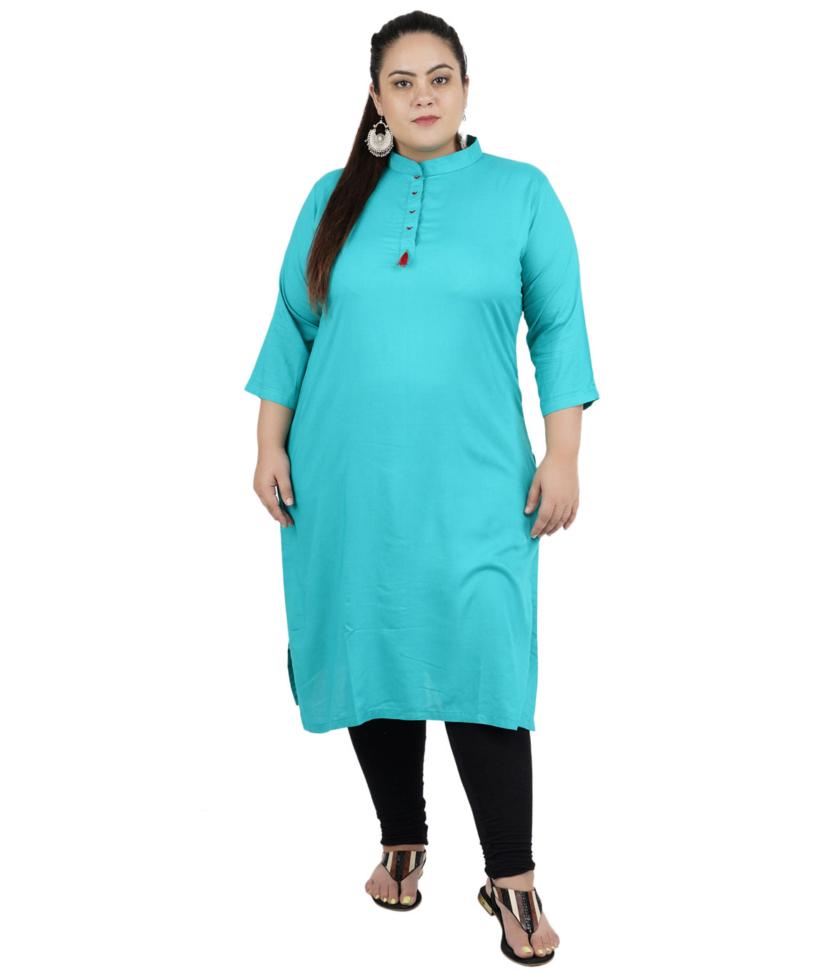 Fazzn Women`s Rayon Straight Kurti(Sky Blue)