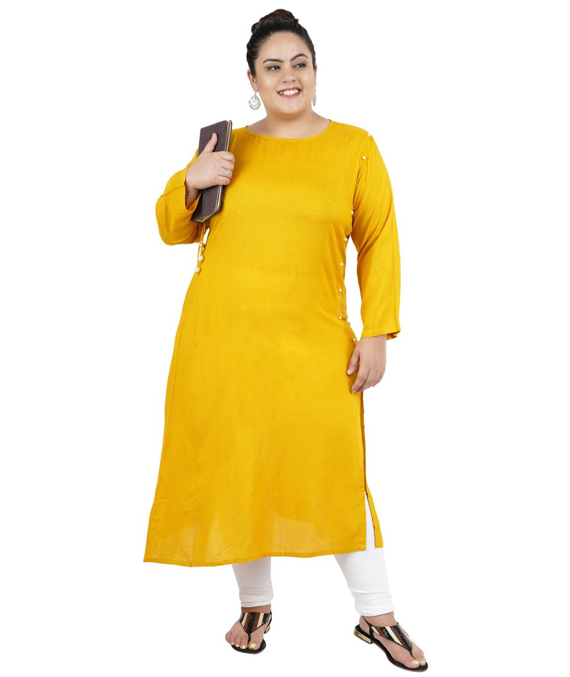 Fazzn Women`s Rayon Straight Kurti(Yellow)