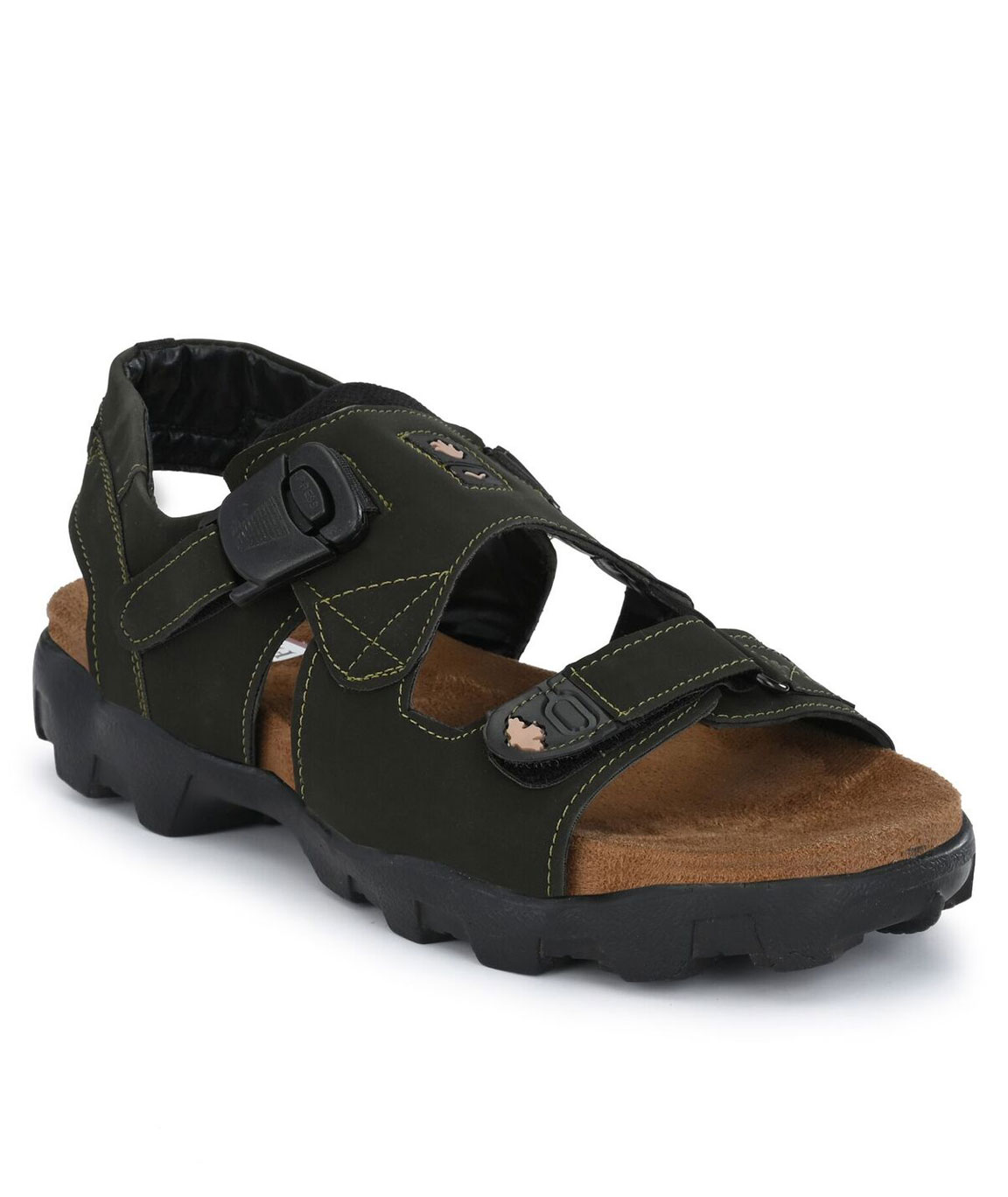 FLEETFOOT Men`s Green Synthetic Leather Best Fit Ultra Comfort Casual Sports Sandal