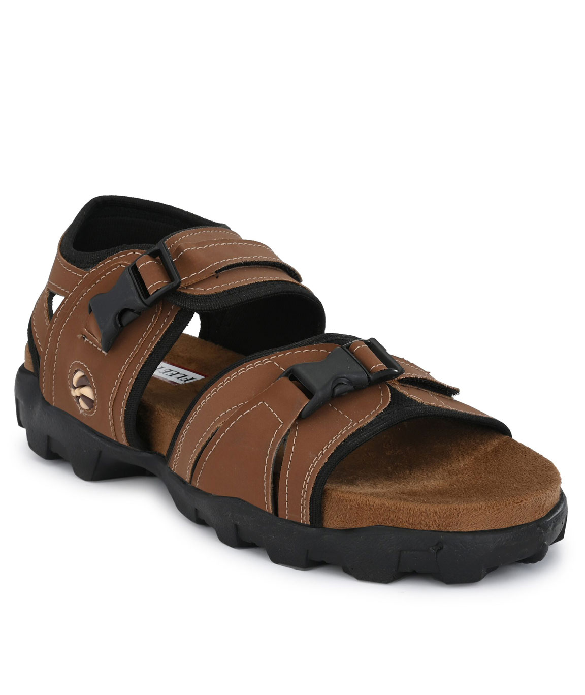 FLEETFOOT Men`s Tan Synthetic Leather Best Fit Ultra Comfort Casual Sports Sandal