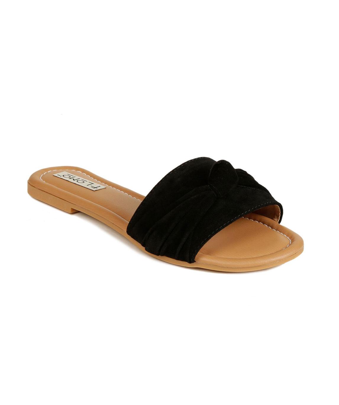 Flomo Women`s Black Resin Casual Flip Flop