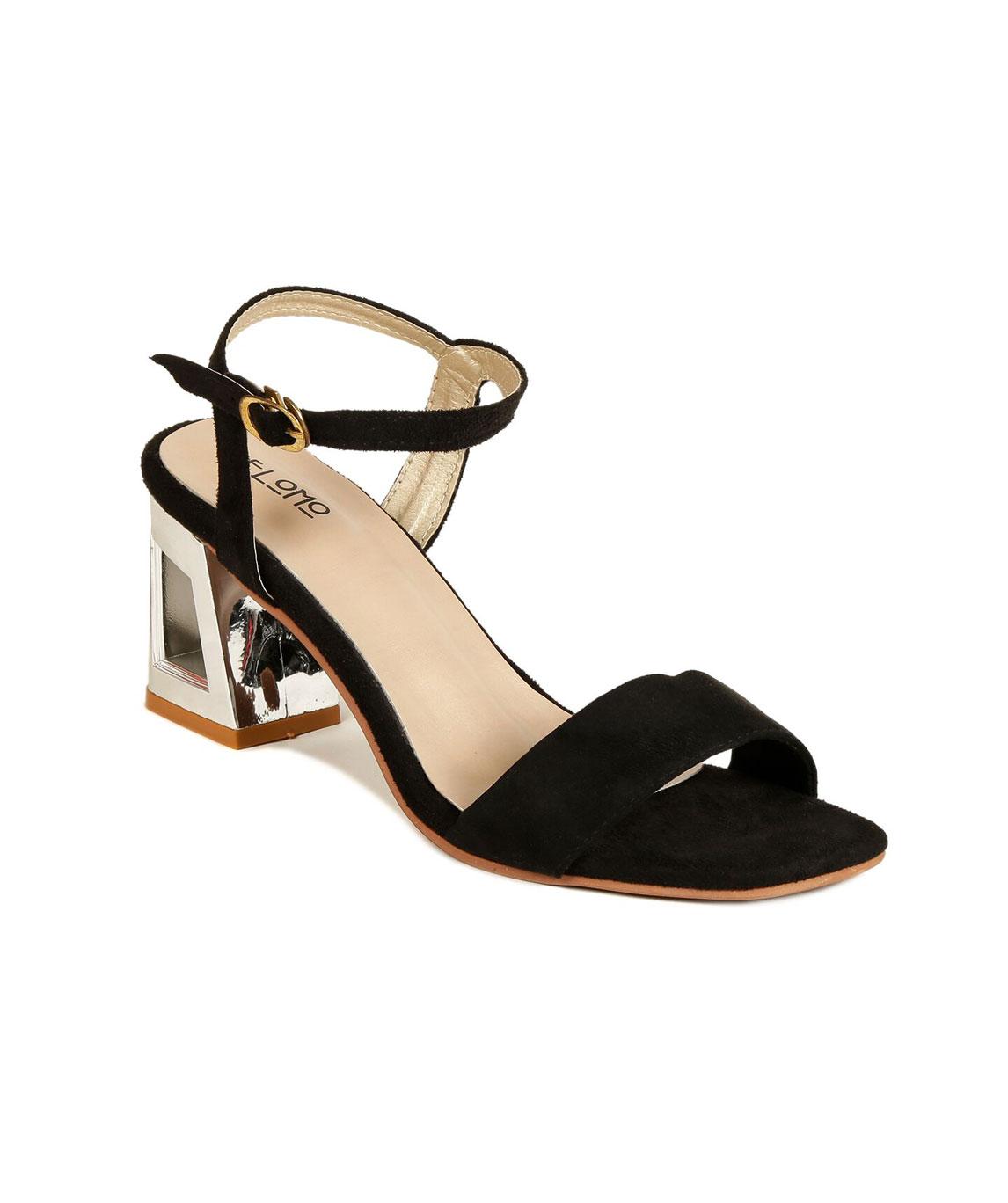 Flomo Women`s Black Resin Party Block Heels