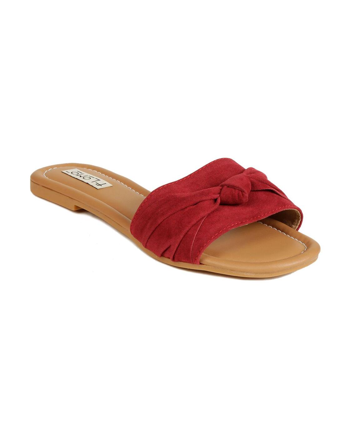 Flomo Women`s Red Resin Casual Flip Flop