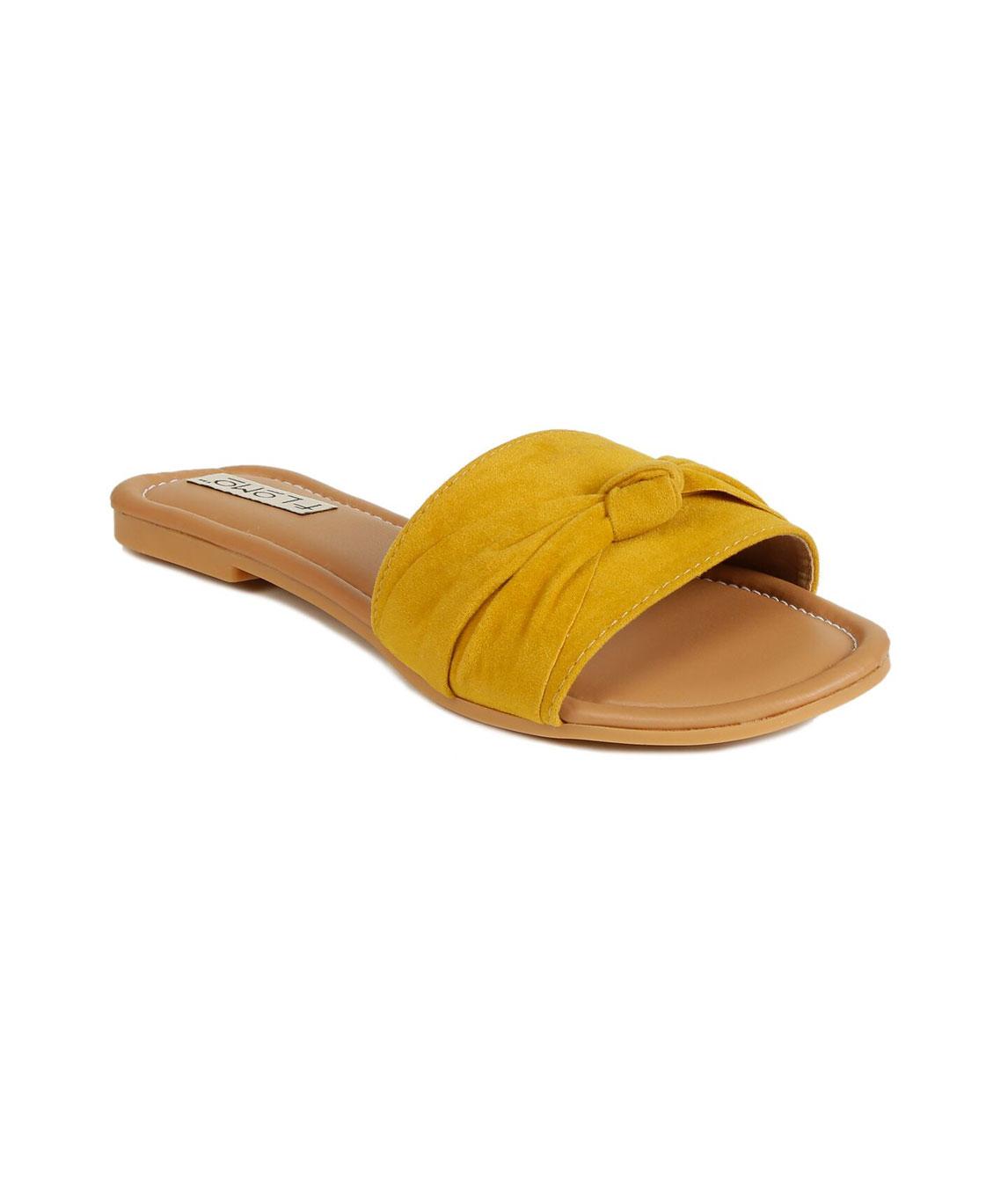 Flomo Women`s Yellow Resin Casual Flip Flop