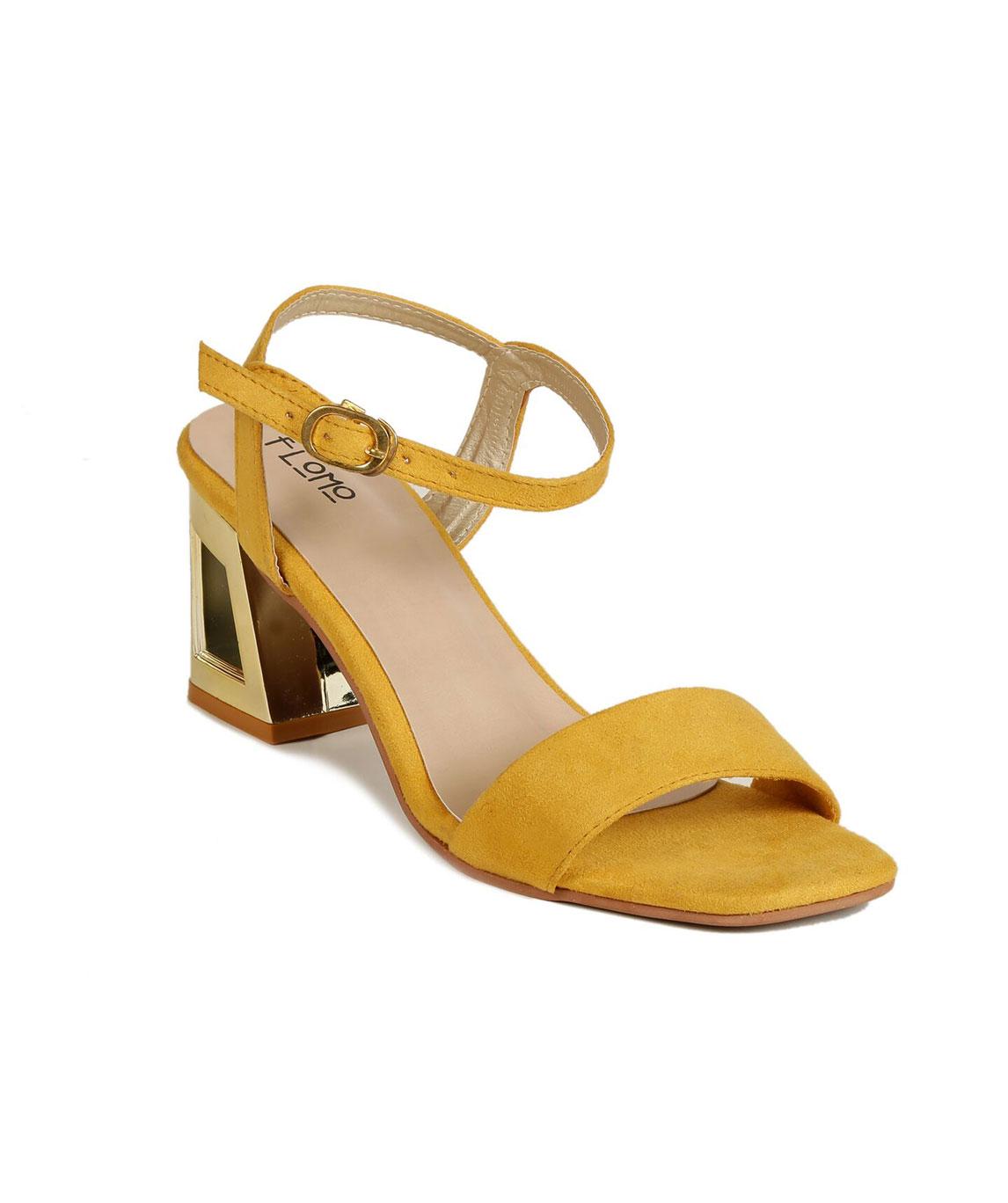 Flomo Women`s Yellow Resin Party Block Heels
