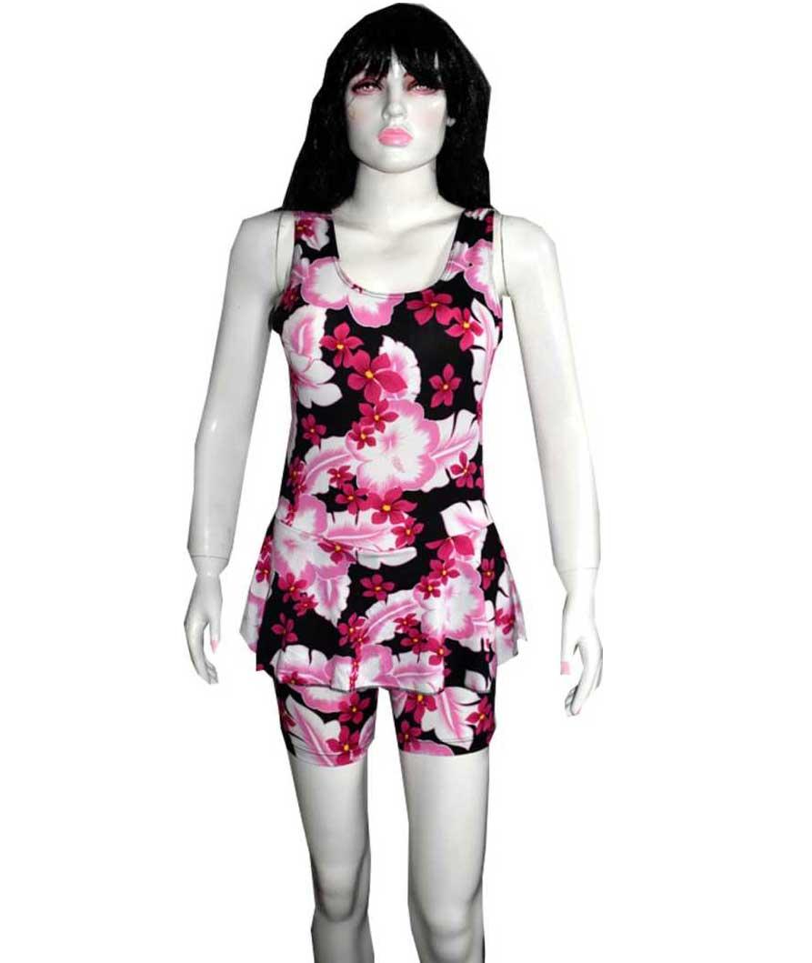 Floral Print Women Swim-dress Pink Swimsuit