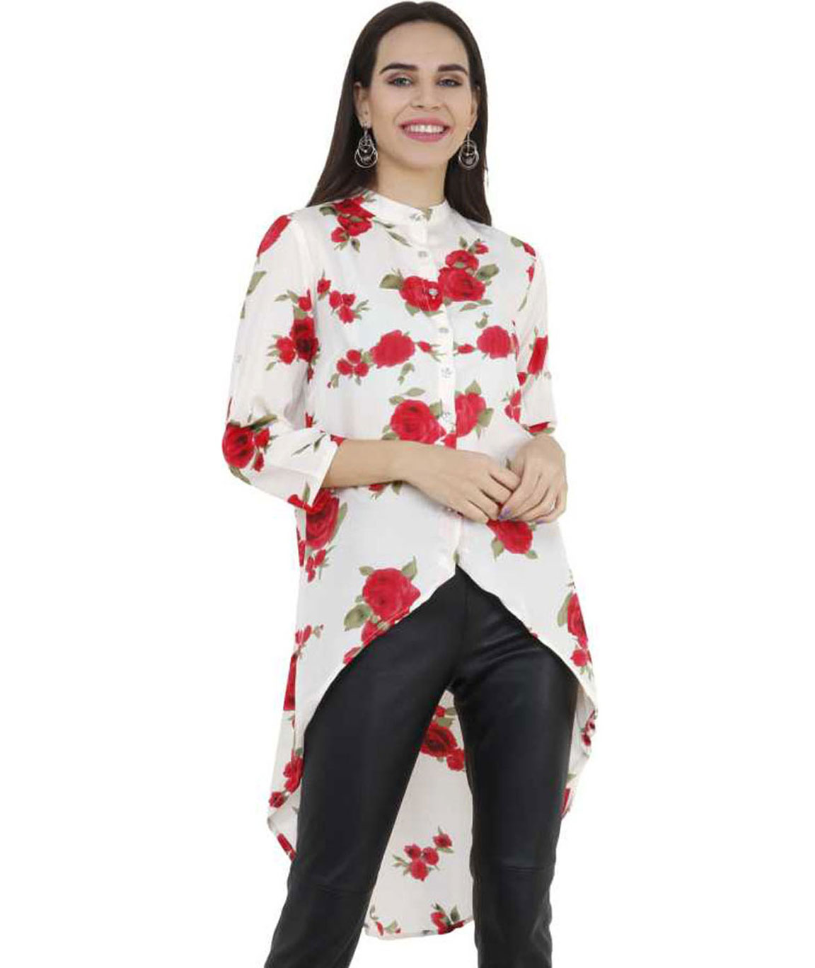 FLORAL PRINT WOMEN TUNIC (WHITE,RED)