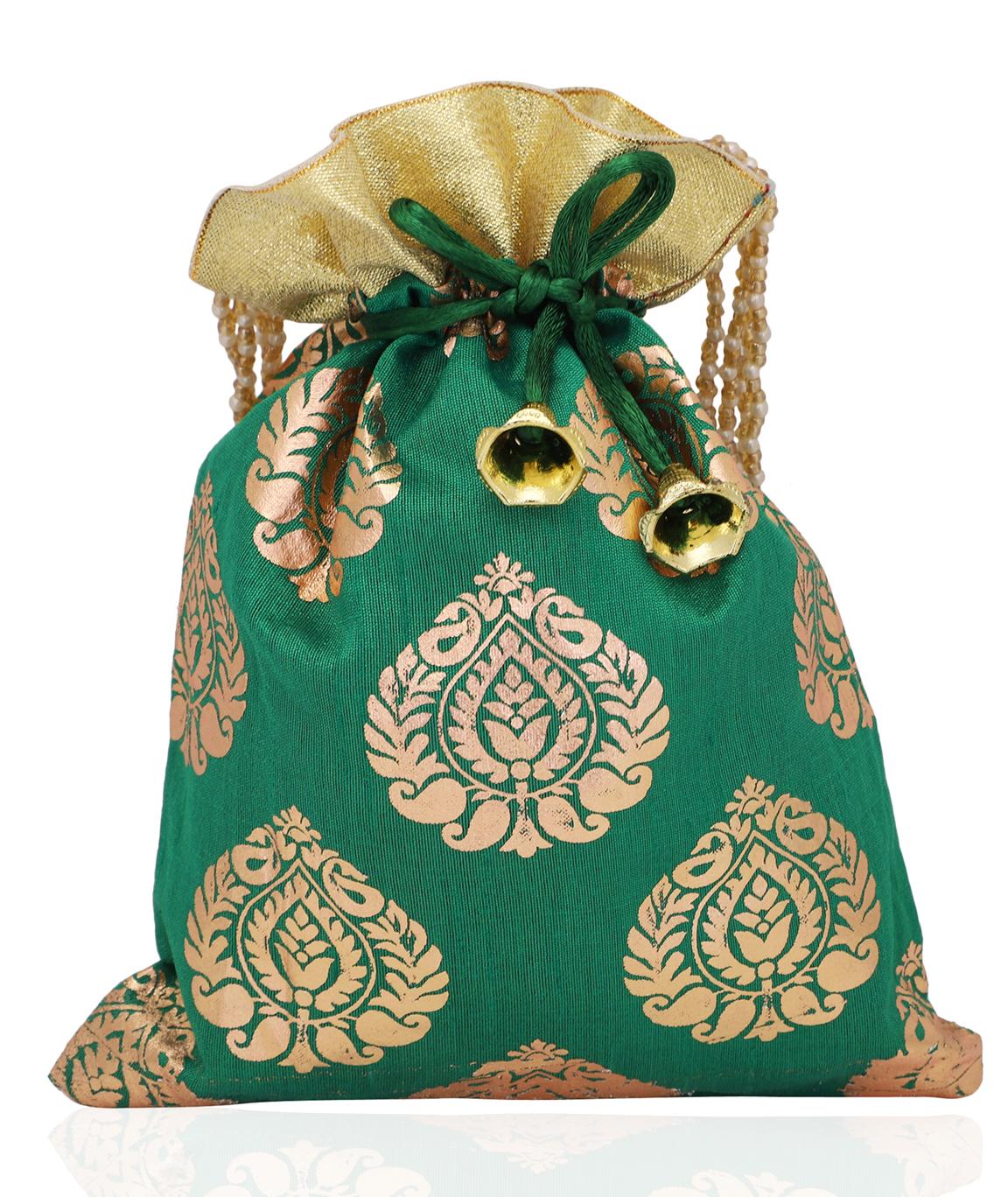 Foil Print Dupion Silk Potli Bag in Green(COLOUR : GREEN)