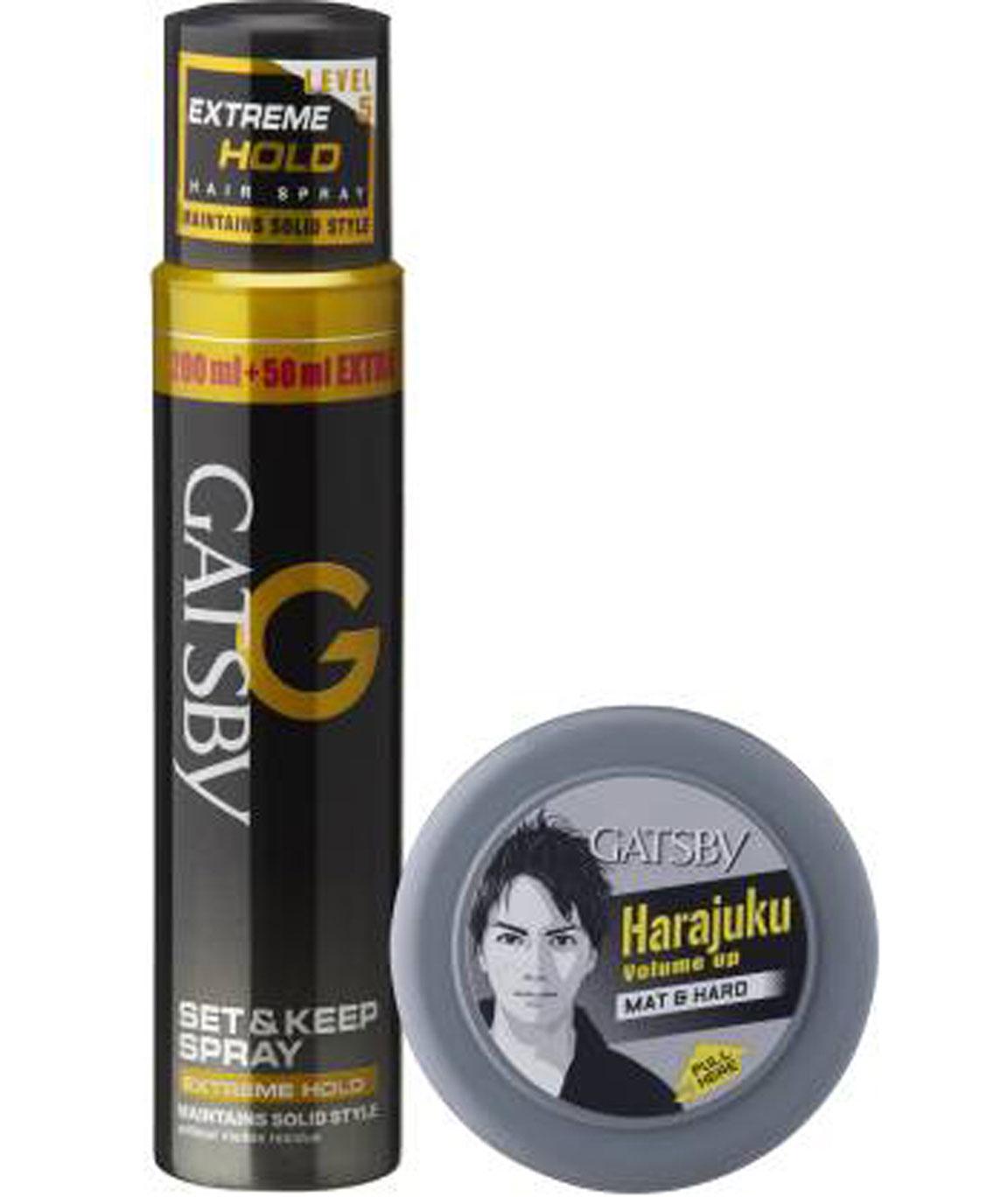GATSBY SET & KEEP HAIR SPRAY EXTREME HOLD 250 ML WITH HAIR STYLING WAX MAT & HARD 75 Gm SPRAY (325 G)
