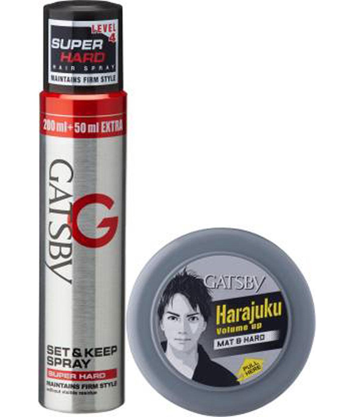 GATSBY SET & KEEP HAIR SPRAY SUPER HARD 250 ML WITH HAIR STYLING WAX MAT & HARD 75 Gm SPRAY (325 G)