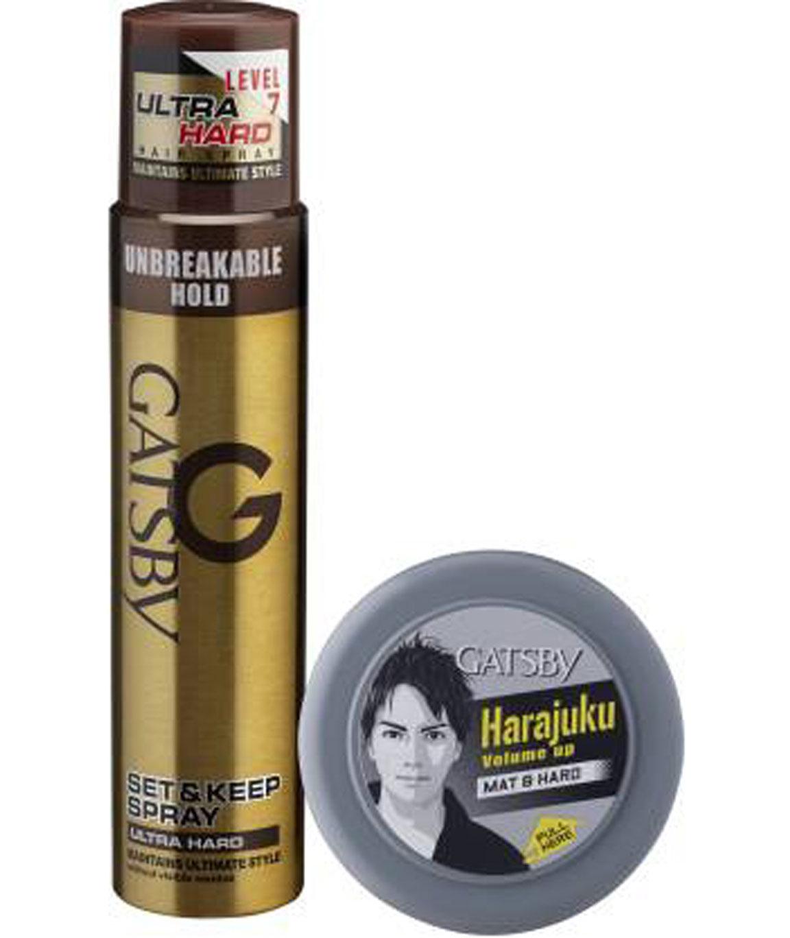 GATSBY SET & KEEP HAIR SPRAY ULTRA HARD 250 ML WITH HAIR STYLING WAX MAT & HARD 75 Gm SPRAY (325 G)