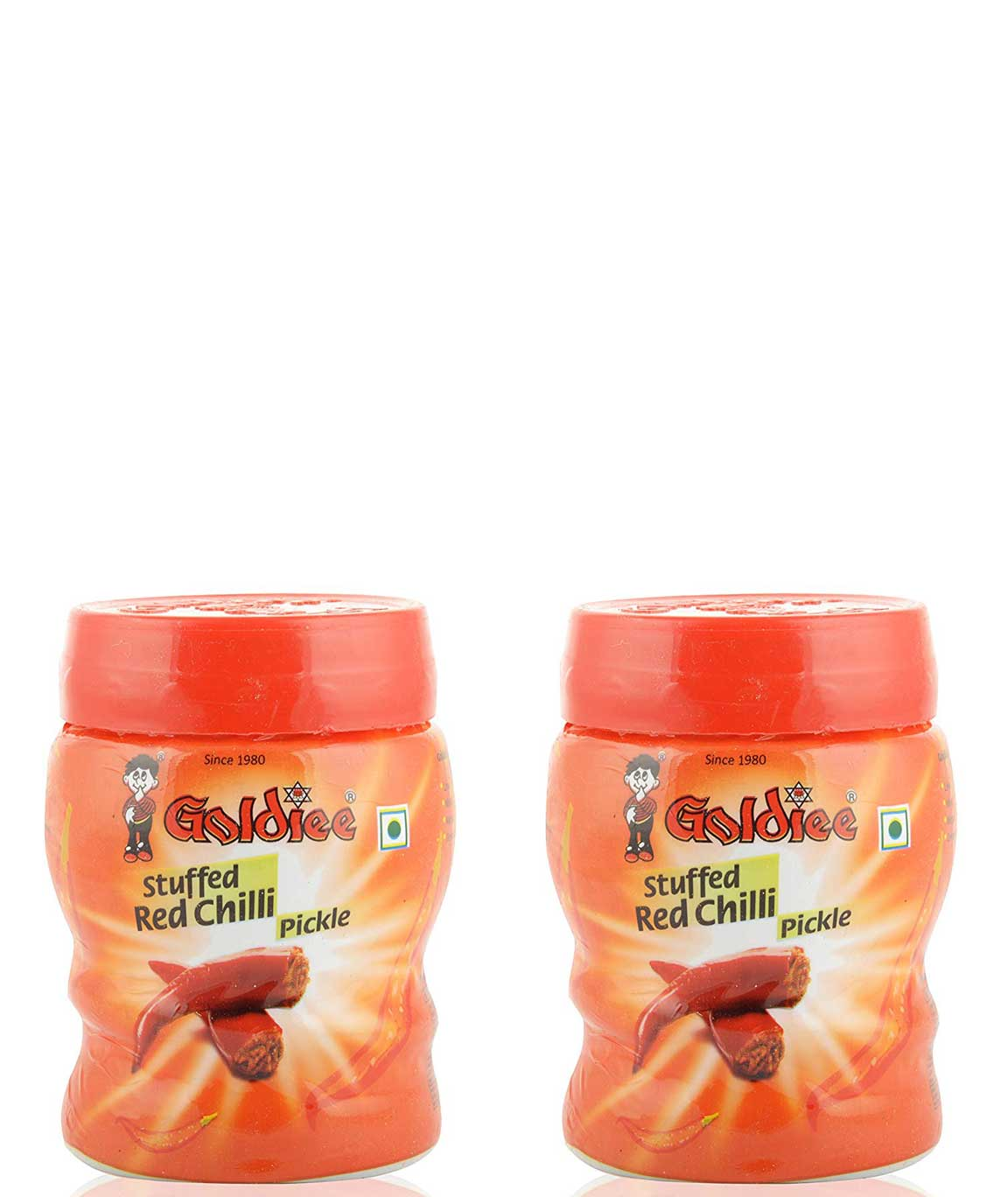 Goldiee Specialty Pickles- Red Chilli 1 Kilograms (Pack of 2)