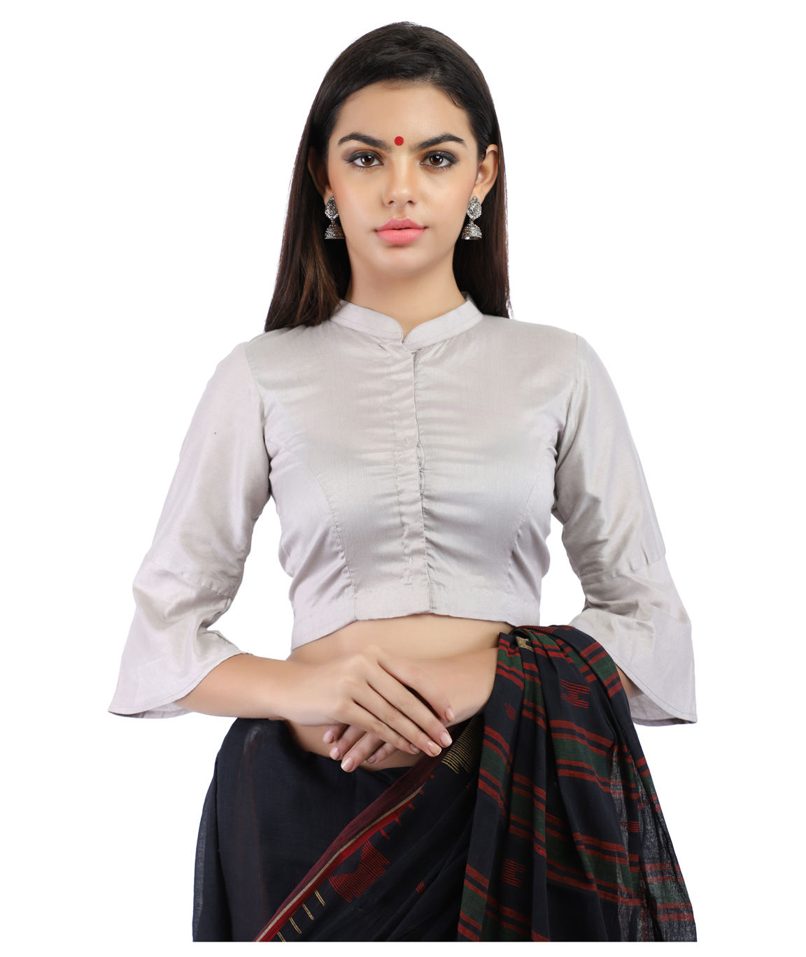 Grey Cotton Silk Non-Padded Front-Open Blouse with Bell Sleeve (COLOUR : Light GREY)