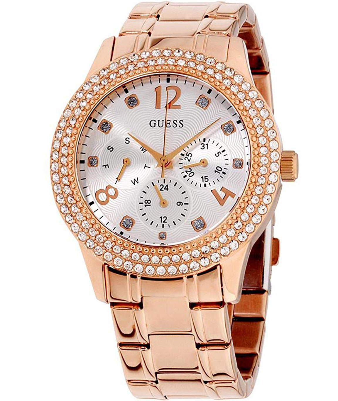 Guess Bedazzle Analog Silver Dial Women`s Watch