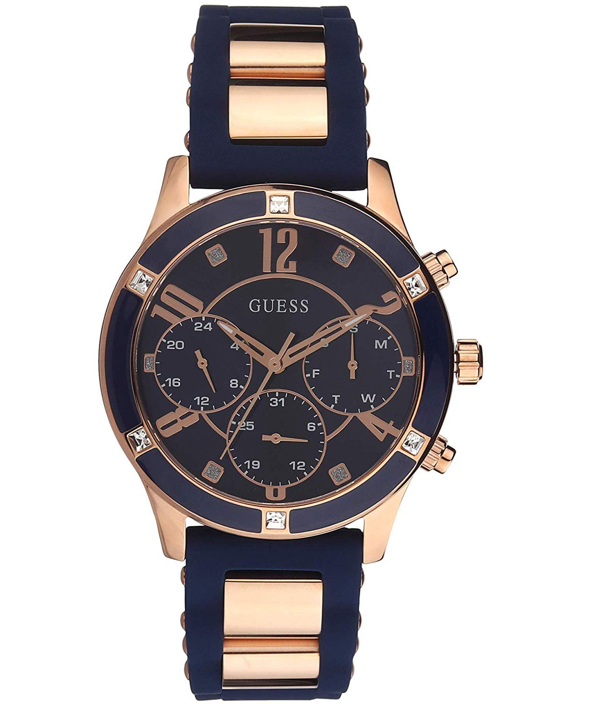 GUESS Chronograph Rose Gold Tone/Blue Case Blue Dial Silicone Women`s Watch