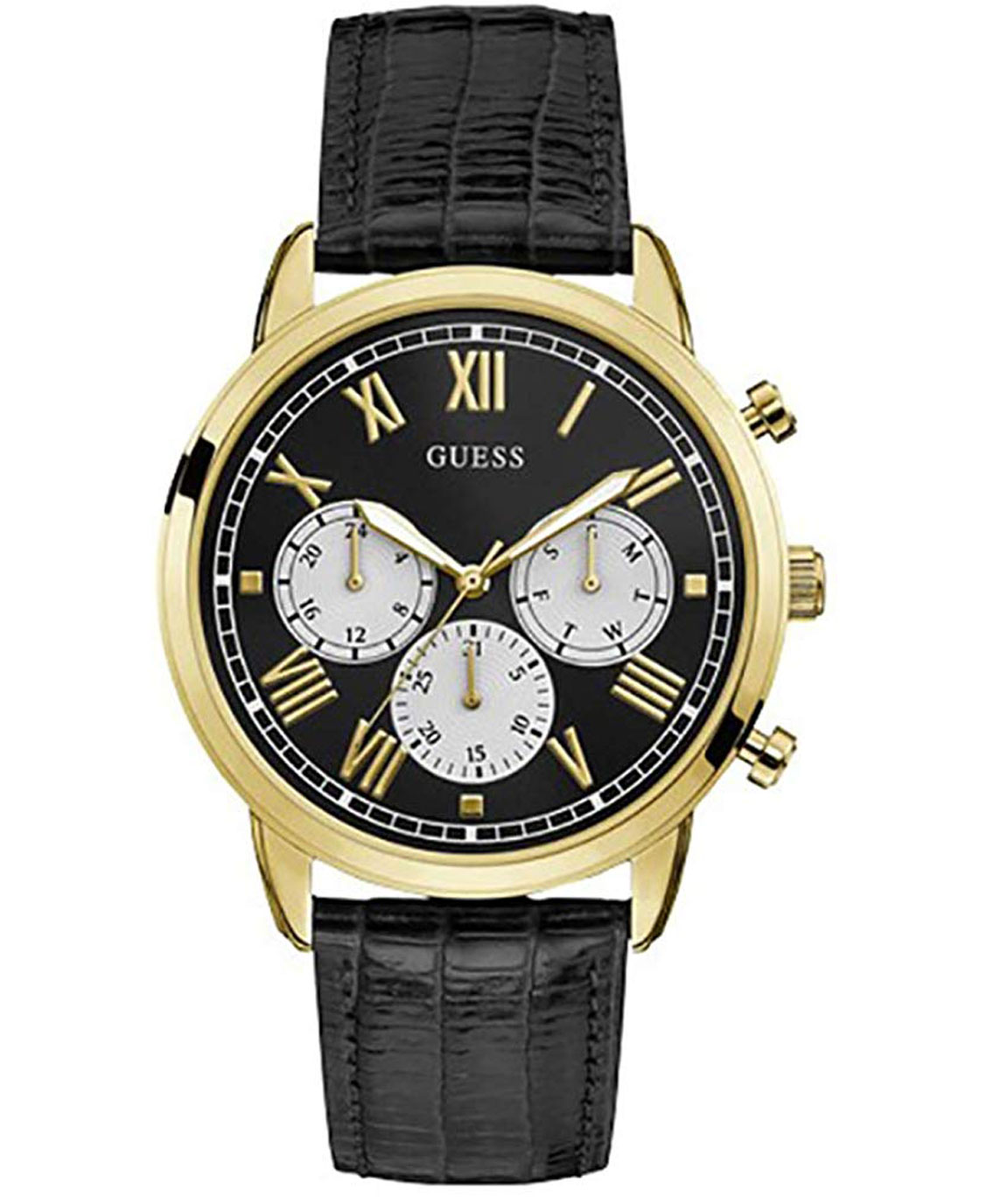 Guess Gents Gold Tone CASE Black Genuine Leather Watch