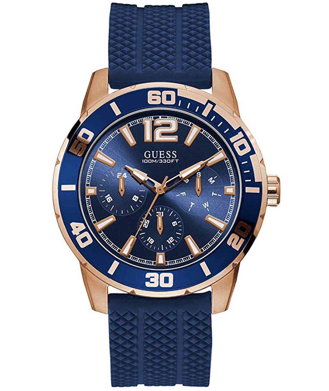 Guess Gents Rose Gold Tone CASE Blue Silicone Watch