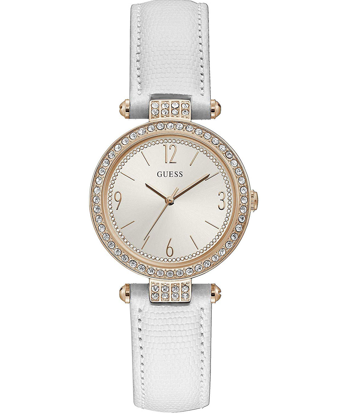 Guess Ladies Rose Gold Tone CASE White Genuine Leather Watch